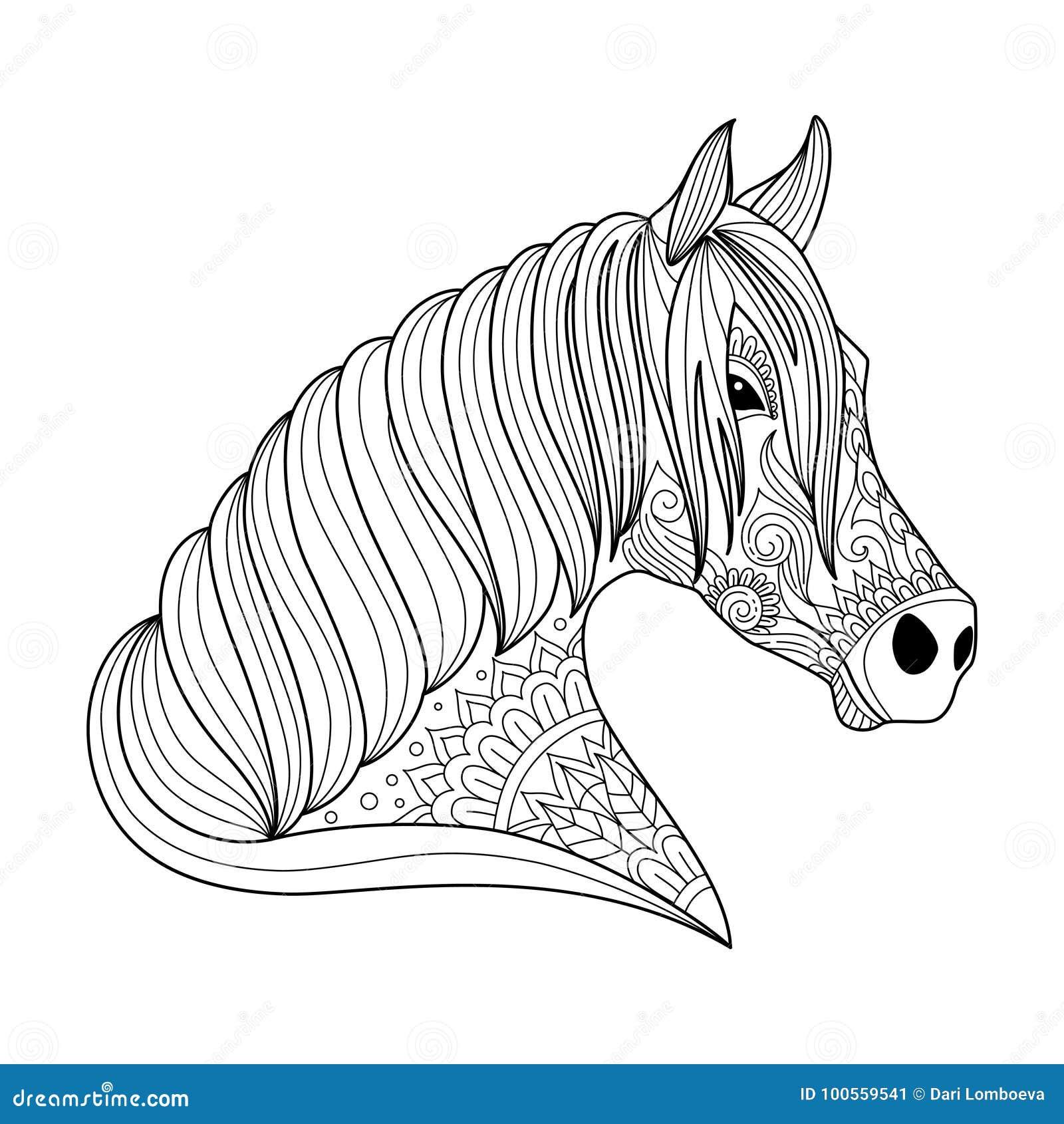 Disegni Da Colorare Testa Di Cavallo.Stile Dello Zentangle Del Cavallo Del Disegno Per L Adulto Ed Il Libro Da Colorare Dei Bambini Tatuaggio Progettazione Della Ca Illustrazione Vettoriale Illustrazione Di Testa Magia 100559541