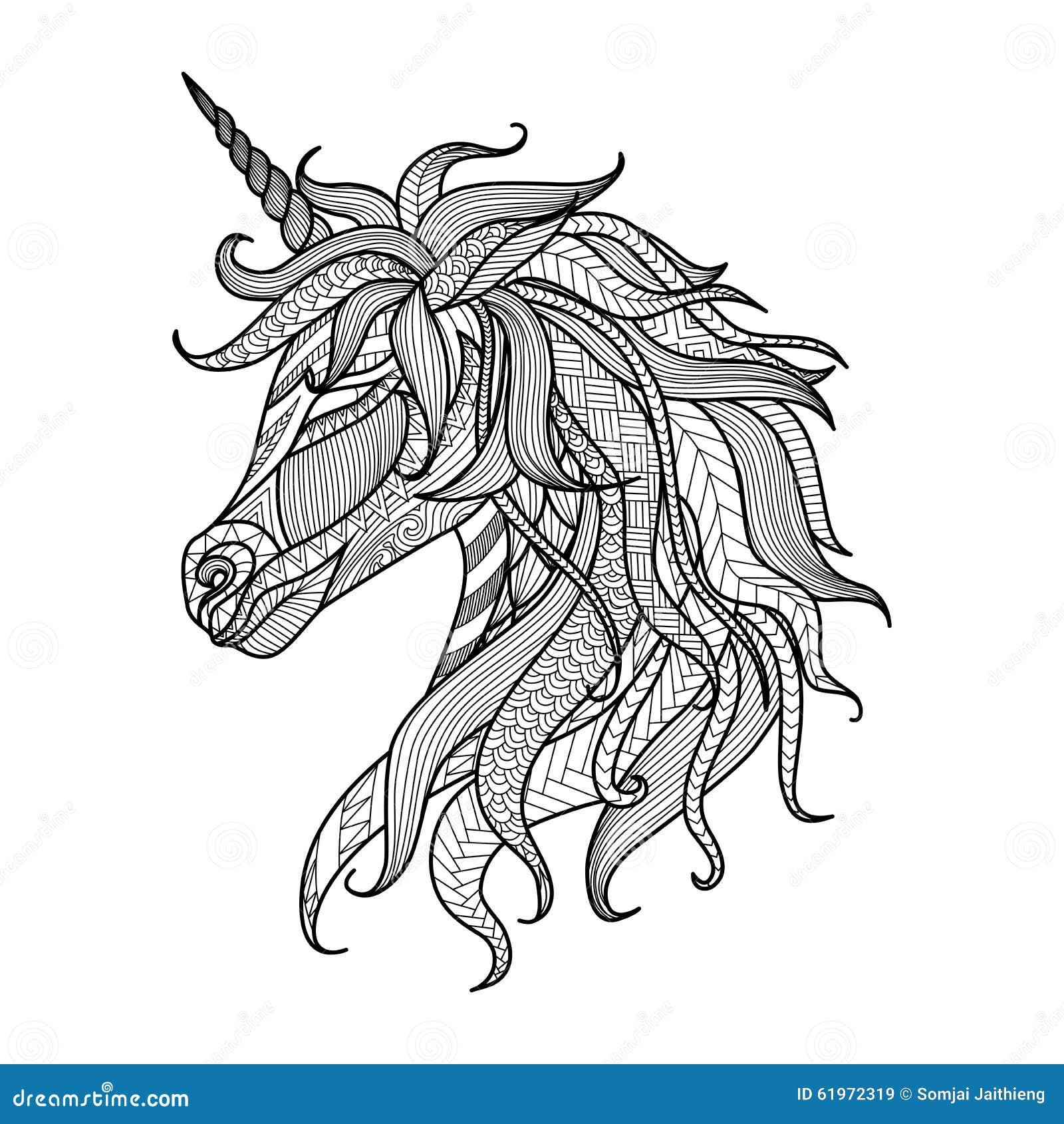 Stile Dello Zentangle Dell Unicorno Del Disegno Per Il Libro Da