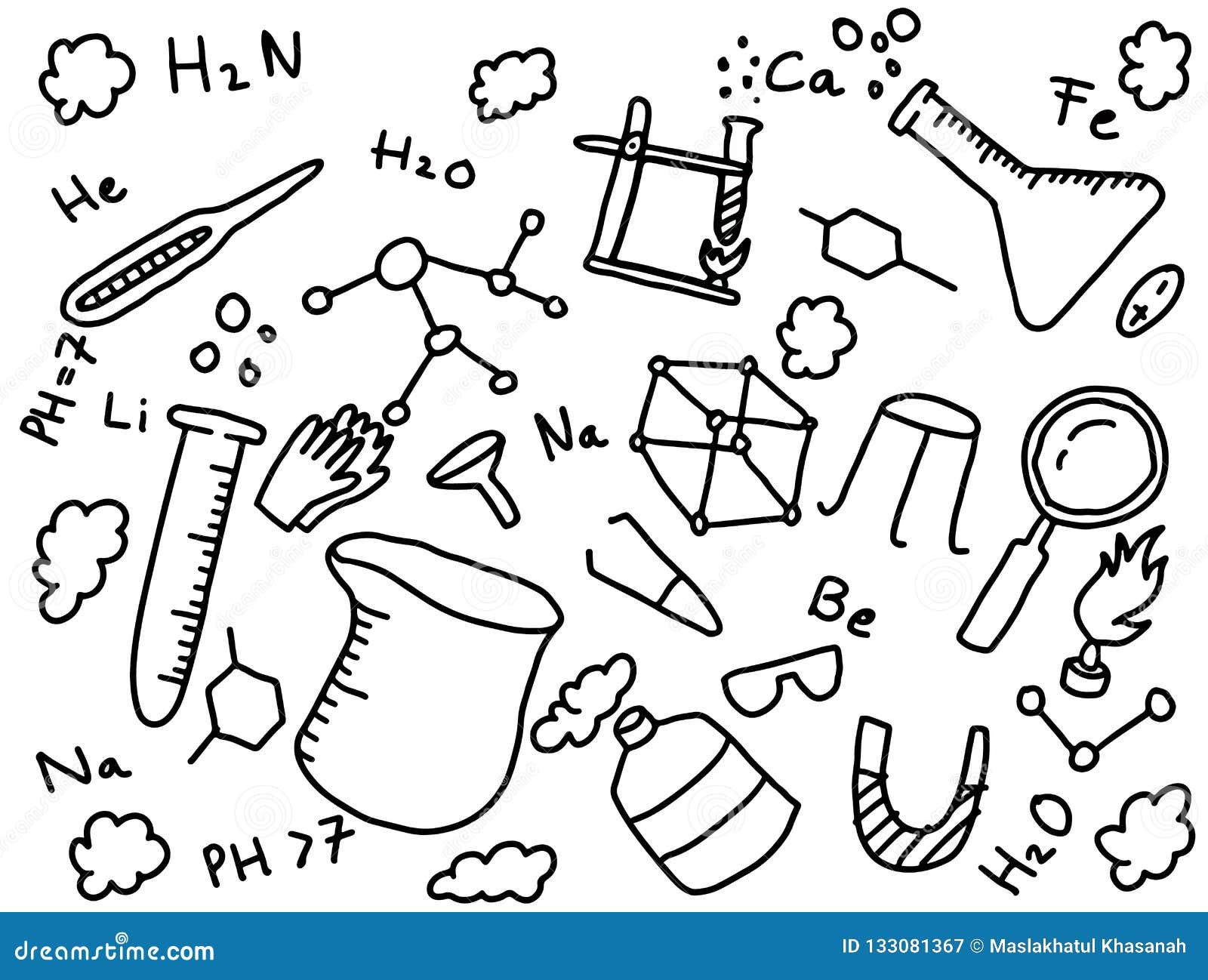 Stile di arte di istruzione di scarabocchio del chimico di chimica con gli strumenti