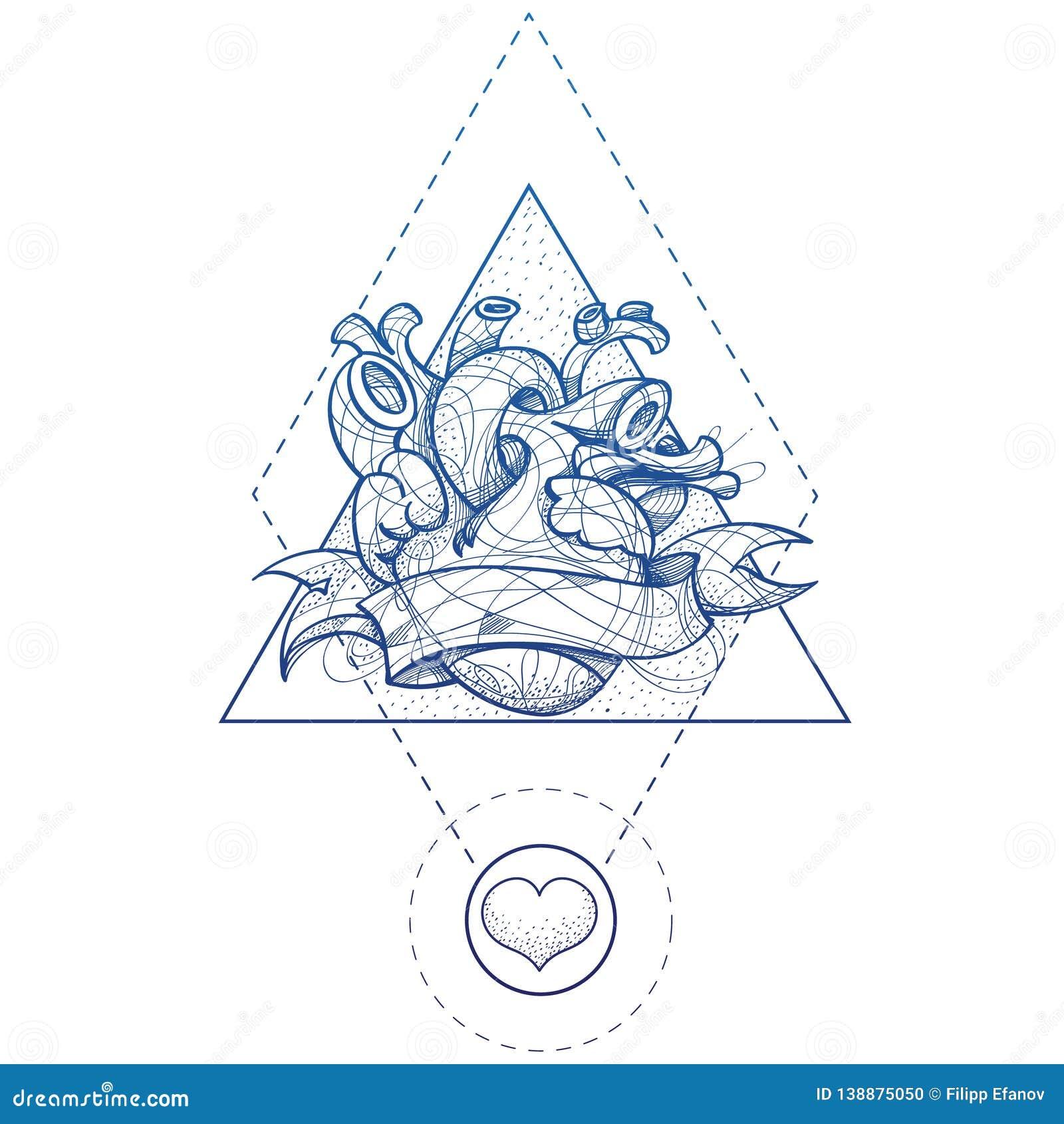 Stile Di Disegno Della Mano Di Schizzo Del Tatuaggio Del ...