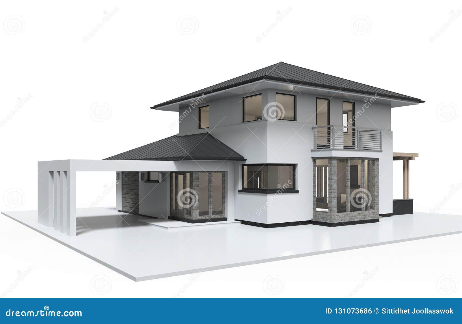 Stile di lusso dell illustrazione della Camera 3d isolato su fondo bianco