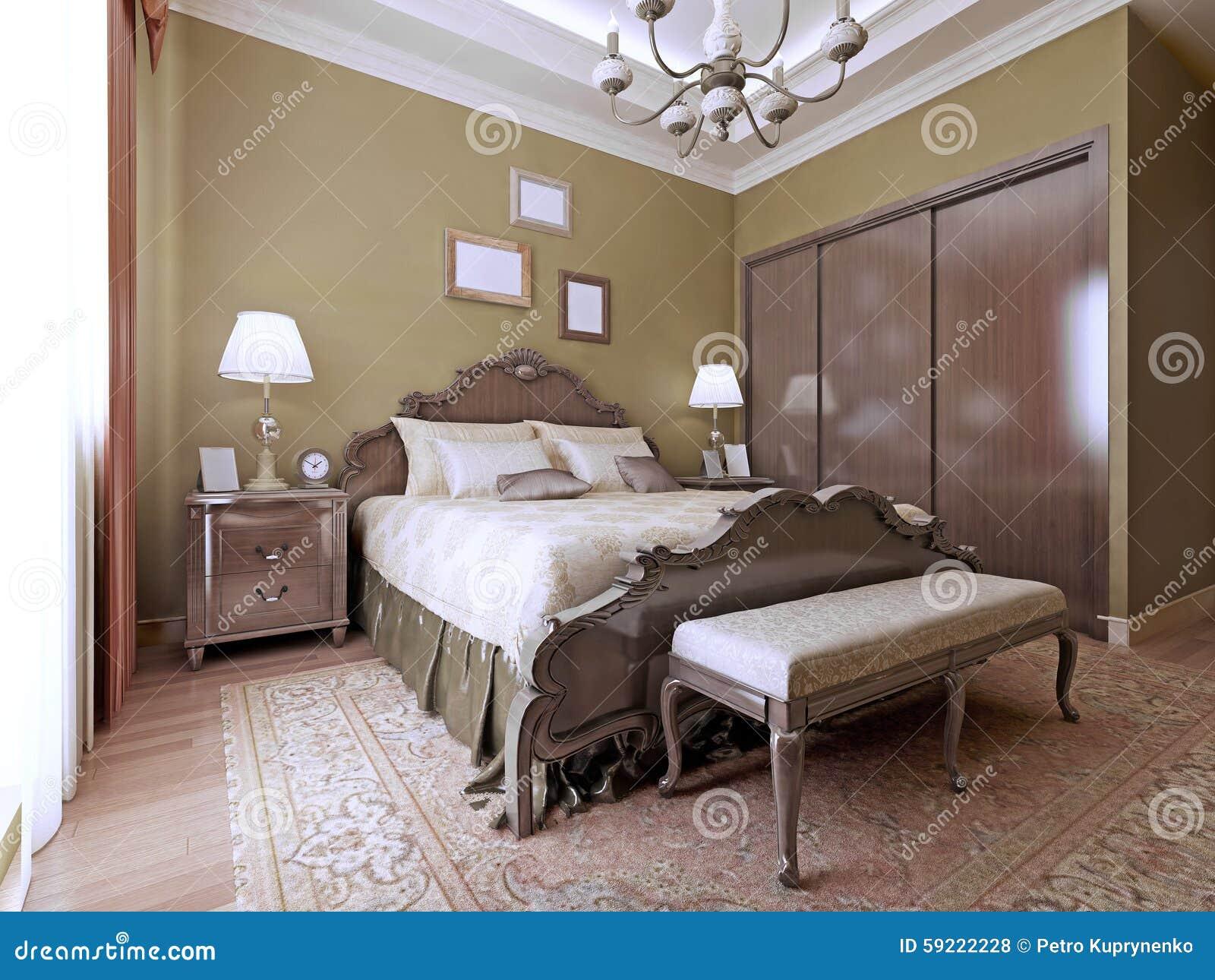 Stile di lusso di inglese della camera da letto fotografia stock