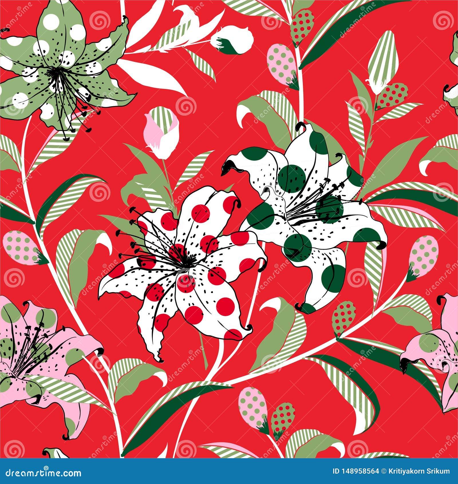 Stile di Pop art del fiore di fioritura variopinto del giardino del giglio in e dell umore di divertimento da riempire con i pois