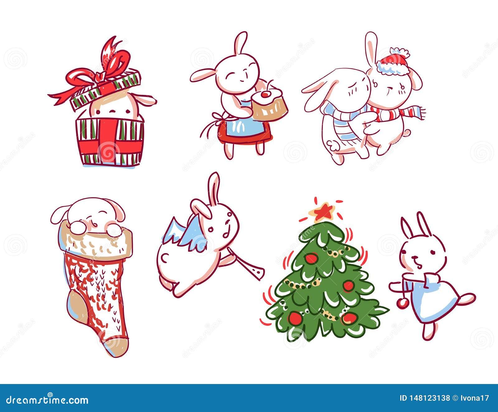 Stile di scarabocchio della cartolina di Natale del carattere del nuovo anno dell insieme del coniglietto