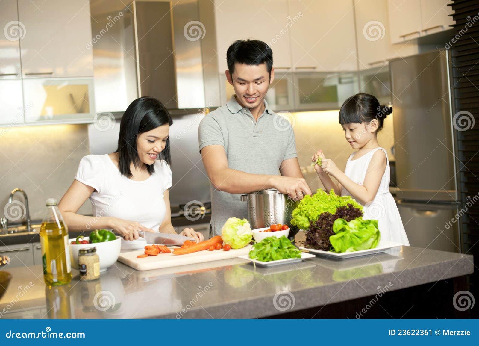 Stile di vita asiatico della famiglia