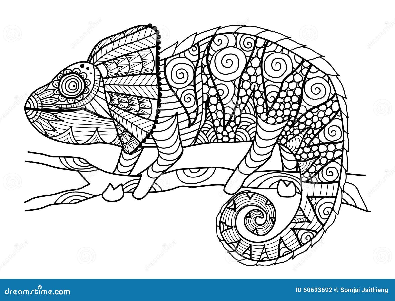 Stile disegnato a mano dello zentangle del camaleonte per il libro da colorare, l effetto di progettazione della camicia, il logo