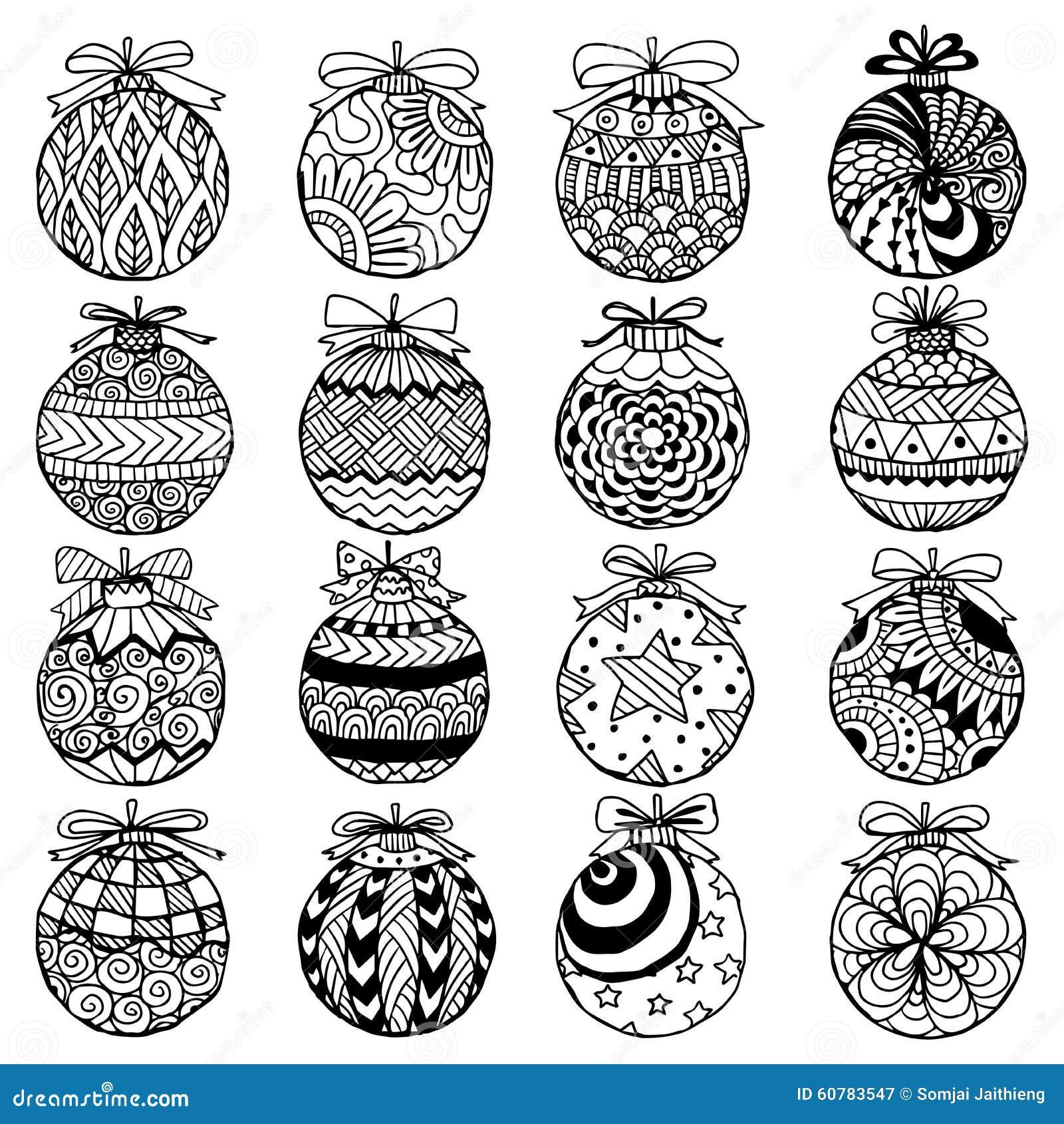 Stile Disegnato A Mano Dello Zentangle Delle Palle Di Natale Per Il