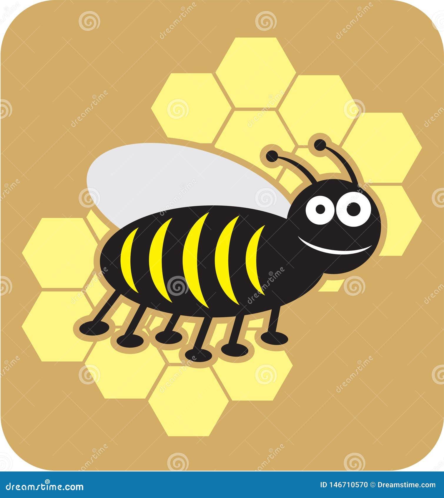 Stile dolce del fumetto dell ape mellifica del miele delle api dell ape