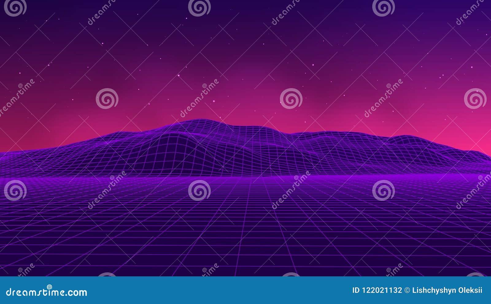 Stile futuristico astratto degli anni 80 del paesaggio Fondo del partito dell illustrazione 80s di vettore retro fondo di fantasc