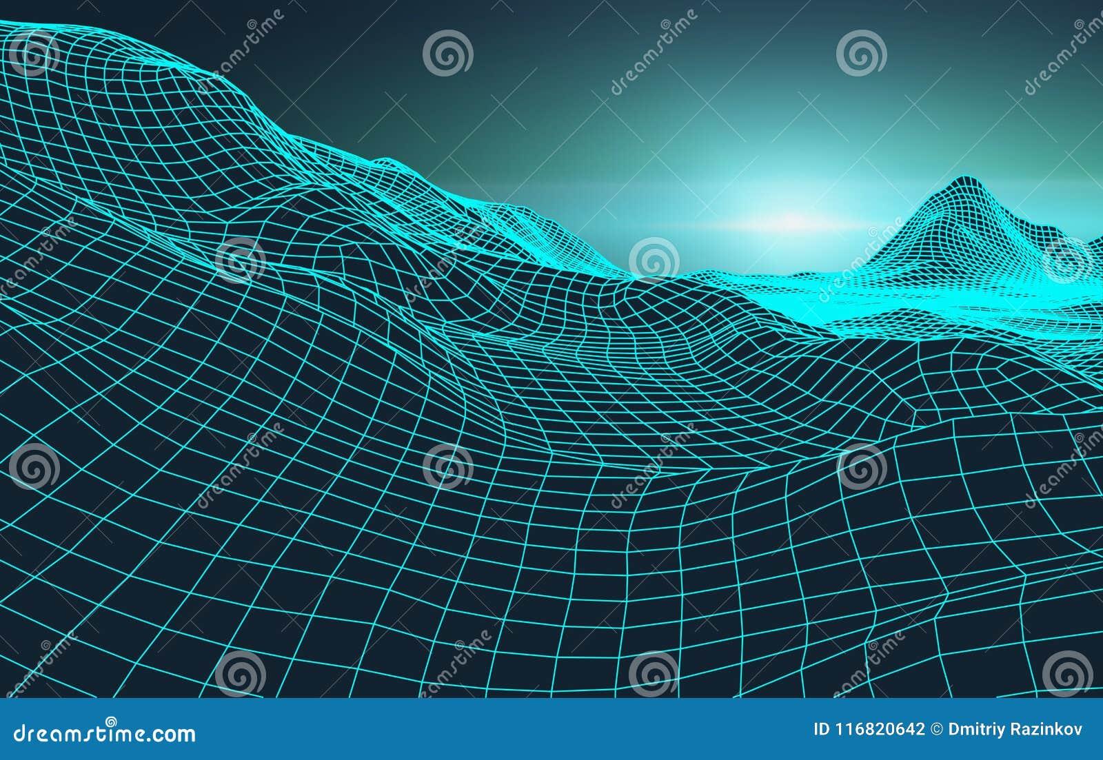 Stile futuristico degli anni 80 del paesaggio del retro fondo Superficie cyber del retro paesaggio di Digital Retro copertura del