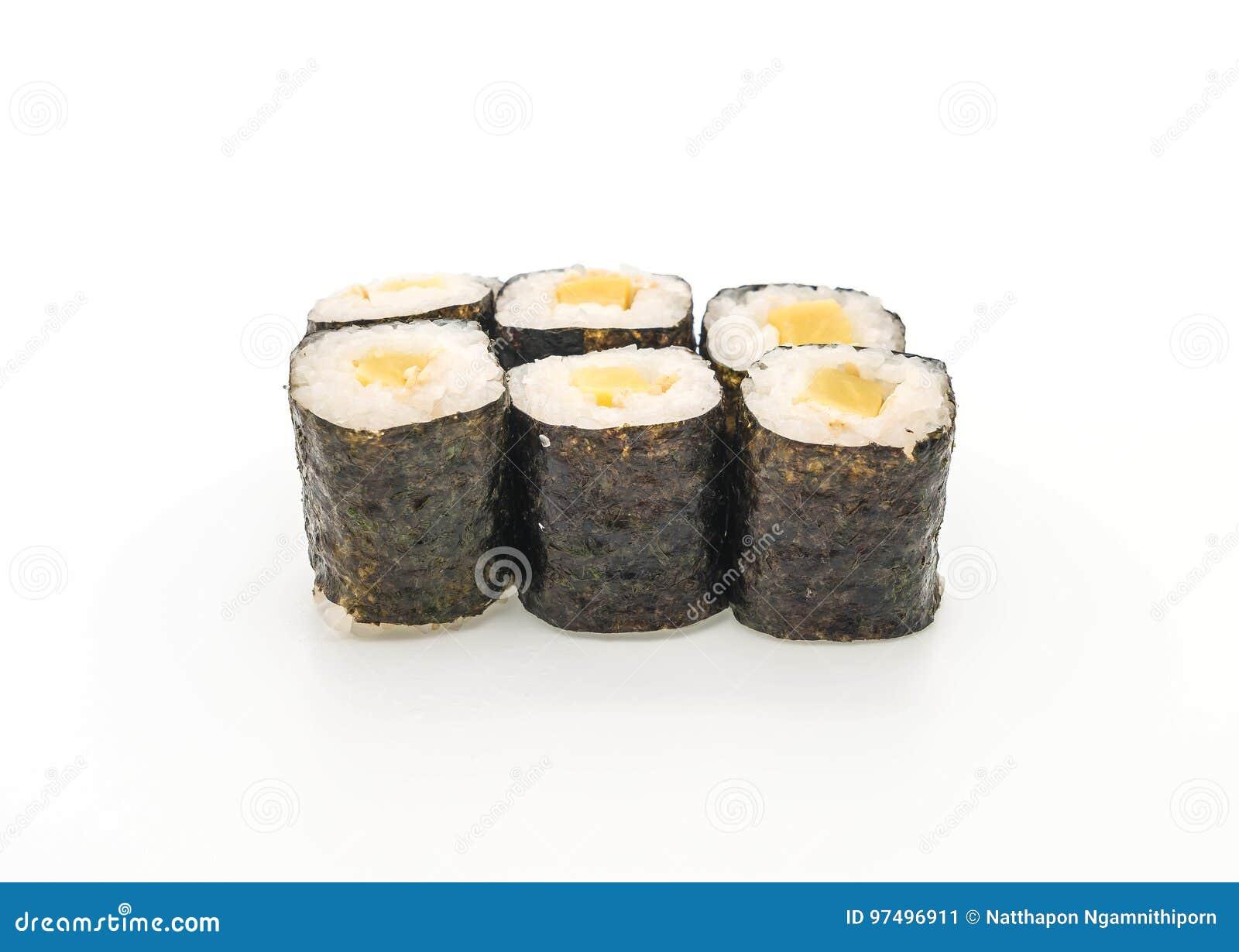 Stile giapponese marinato dell alimento dei sushi di maki del ravanello