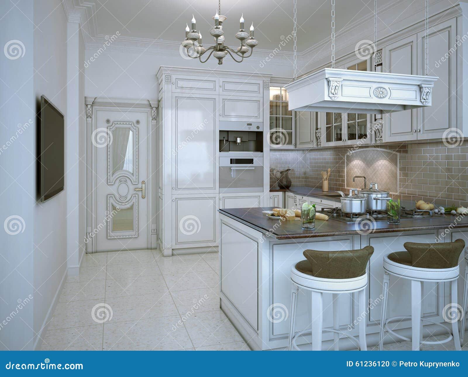 Stile lucido di art deco della cucina illustrazione di for Pavimento della cucina in stile artigiano
