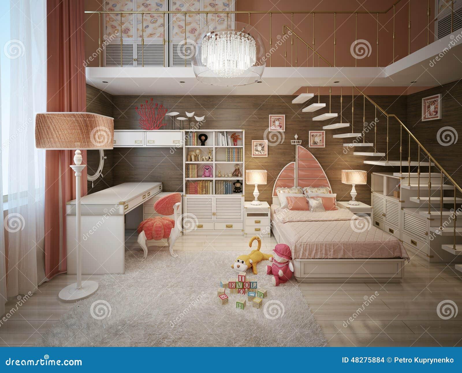 Stile moderno della camera da letto delle ragazze for Stile moderno della prateria