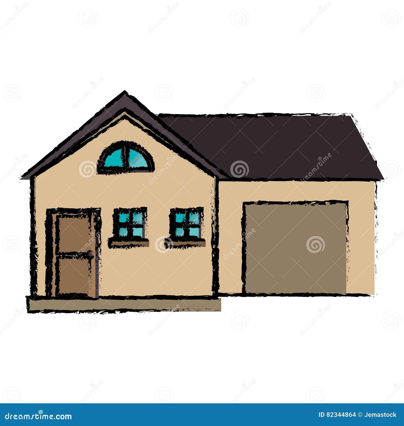 Stile moderno della casa del disegno con il garage for Casa disegno