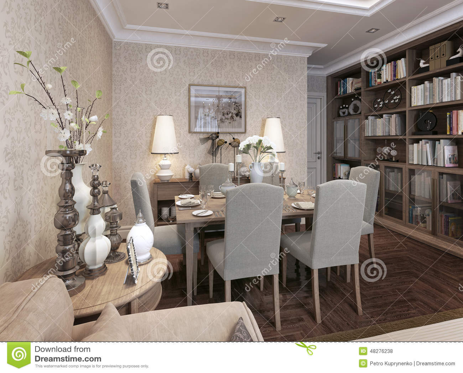 Stile moderno della sala da pranzo illustrazione di stock illustrazione 48276238 - Lampadario sala da pranzo moderna ...