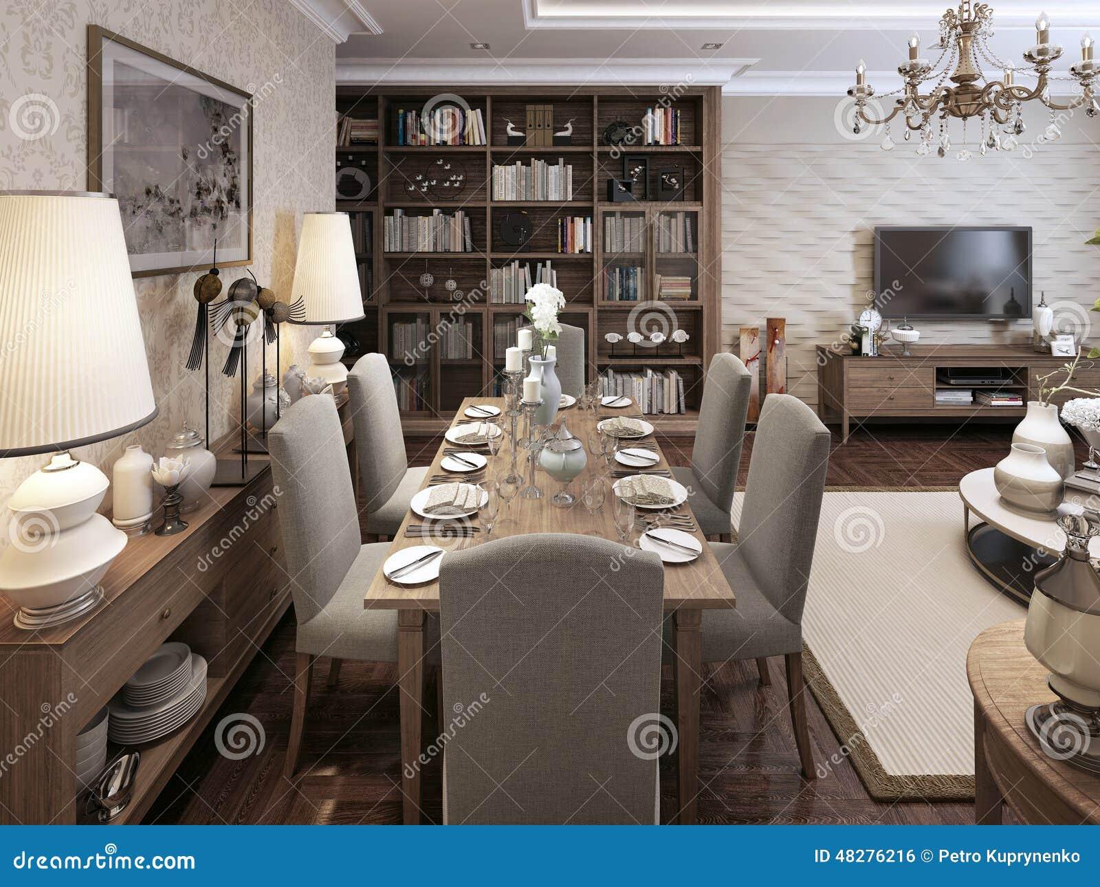 Stile neoclassico della sala da pranzo illustrazione di - Casa stile neoclassico ...