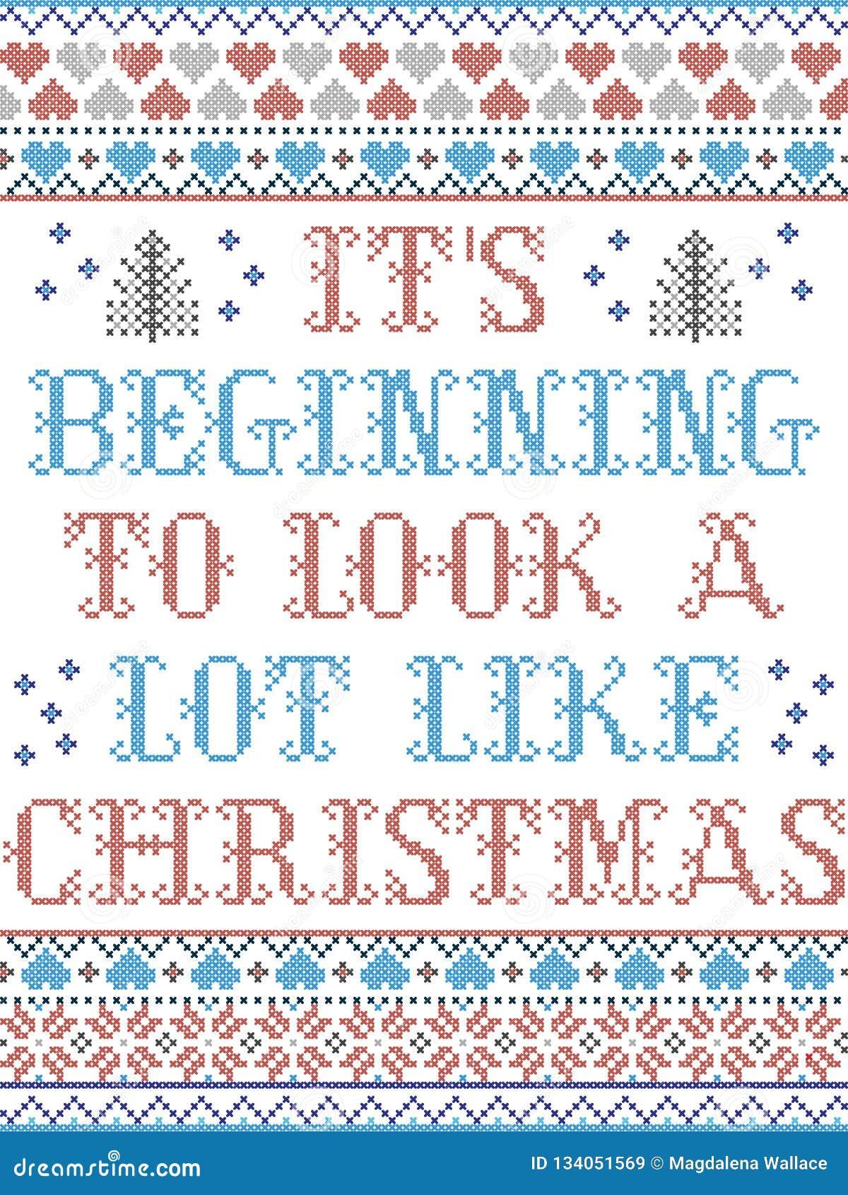 Stile nordico di Buon Natale ed ispirato dal modello senza cuciture di Natale del mestiere trasversale scandinavo del punto