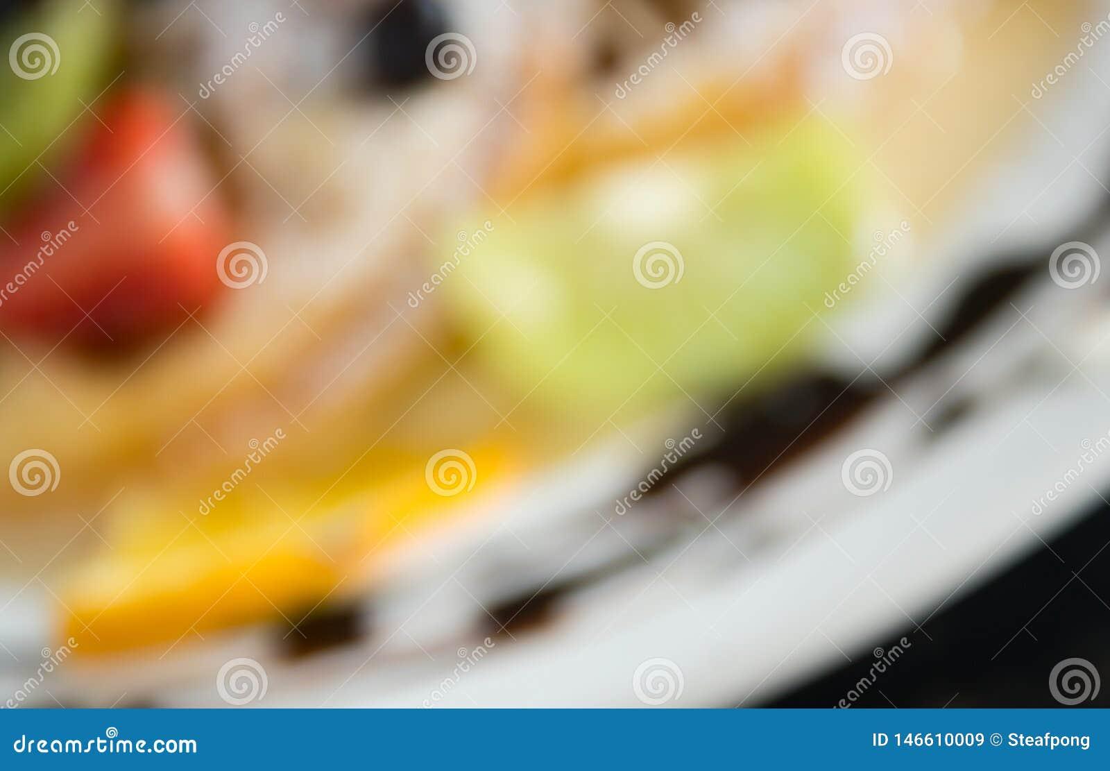 Stile offuscante Kiwi Fruity Waffle Dessert Background per progettazione