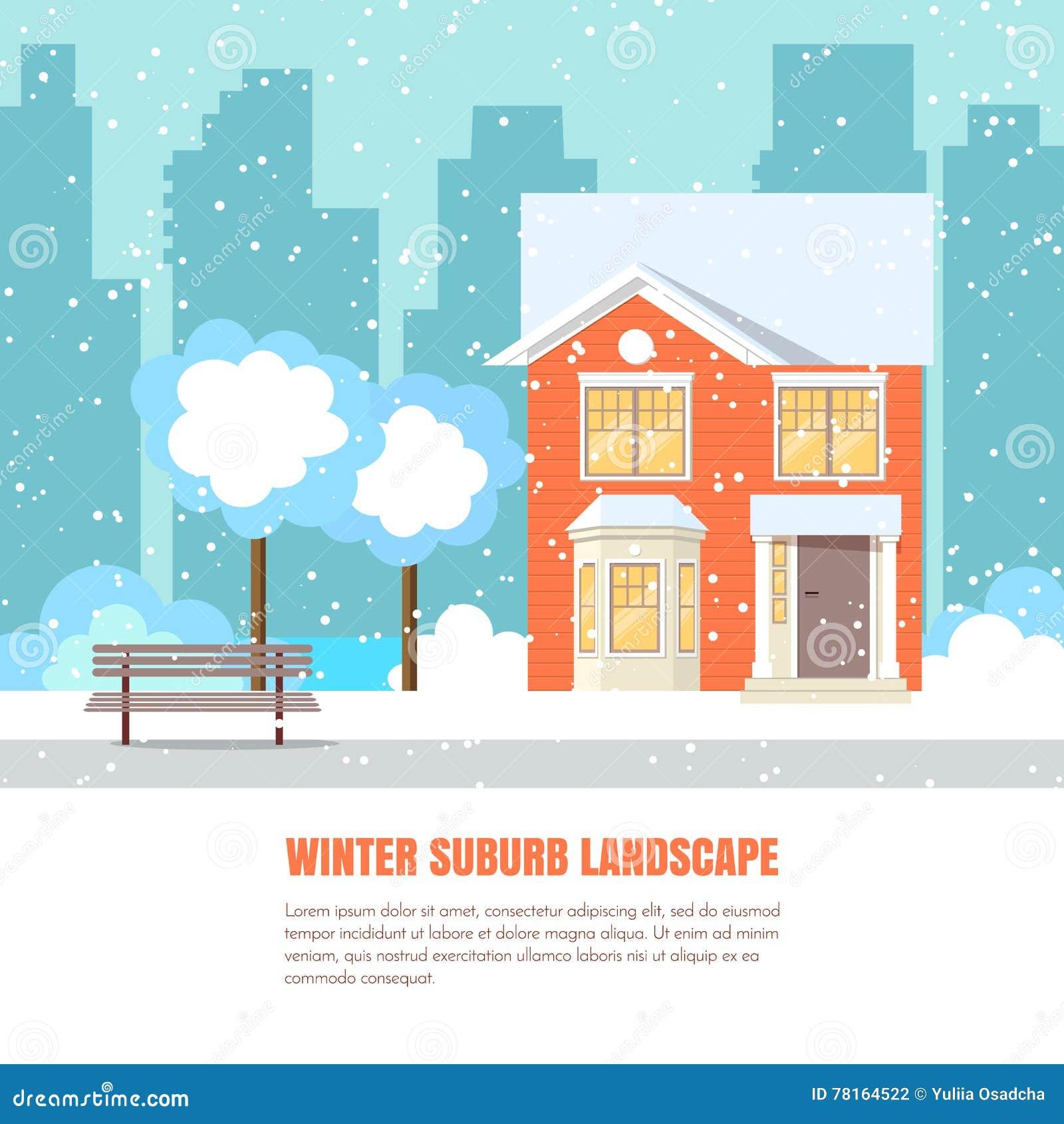 Stile piano dell insegna orizzontale del sobborgo di inverno