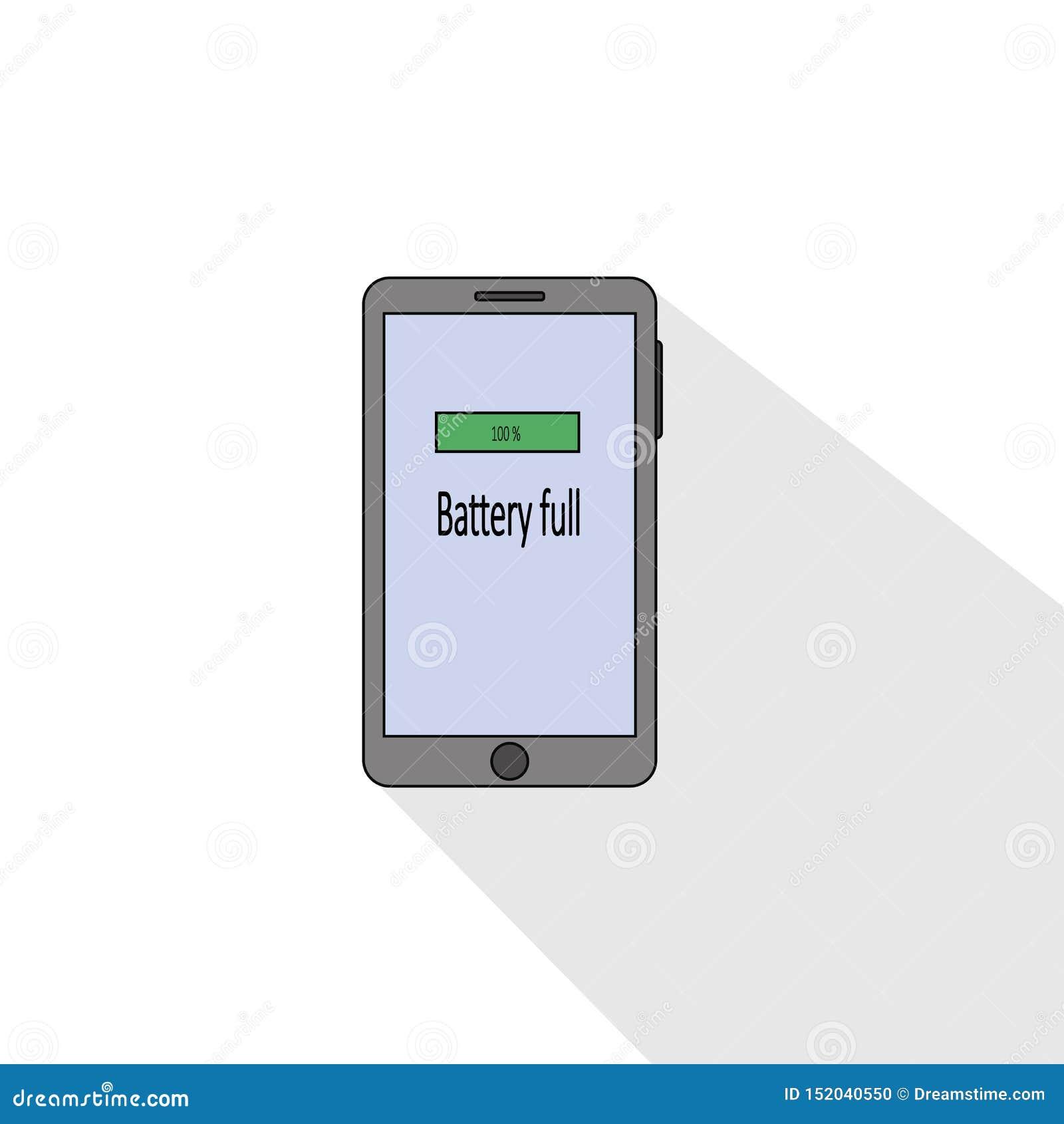 Stile piano della batteria piena di Smartphone Illustrazione di vettore