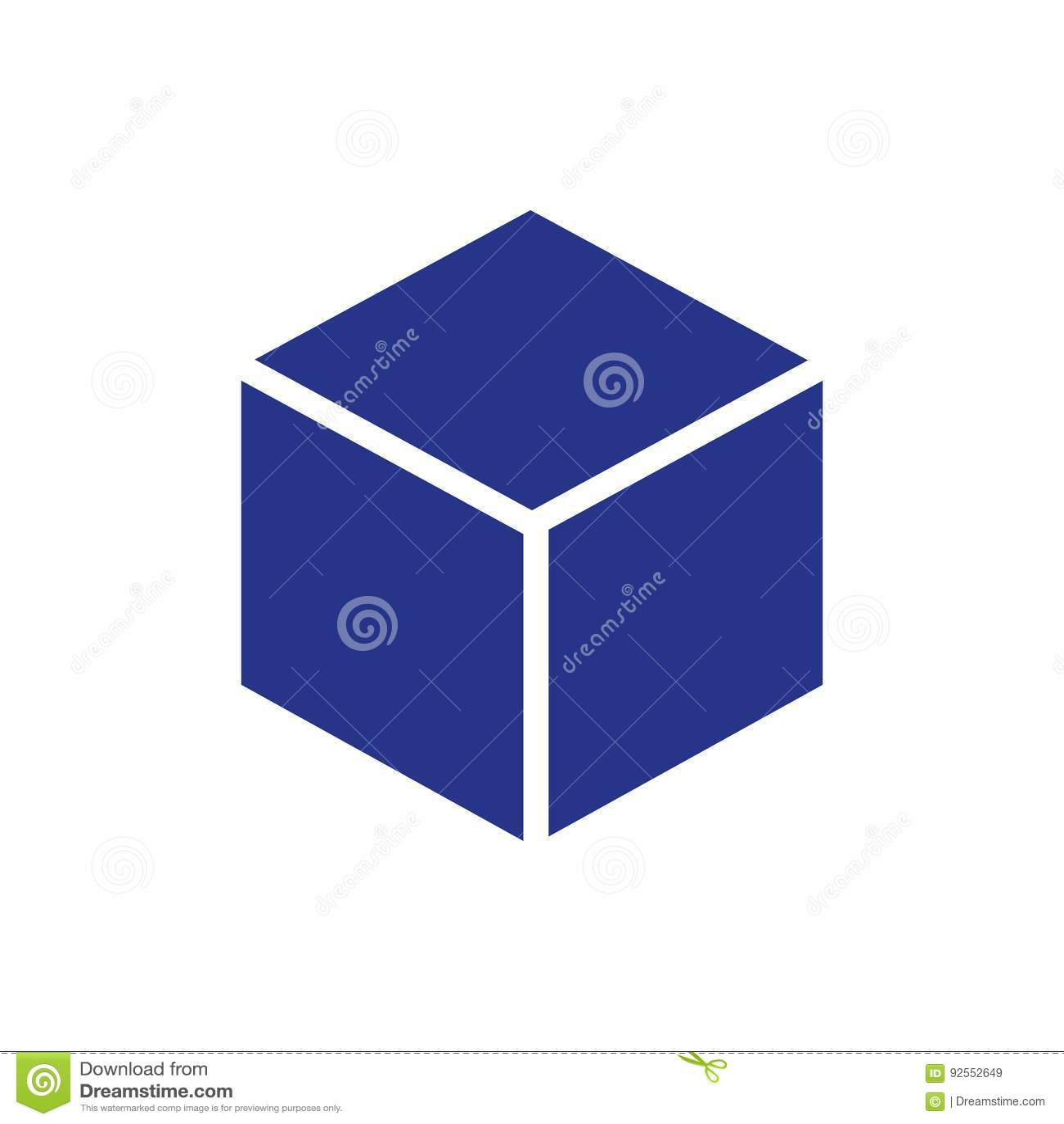 Stile piano di progettazione dell illustrazione di vettore delle azione dell icona del cubo 3d