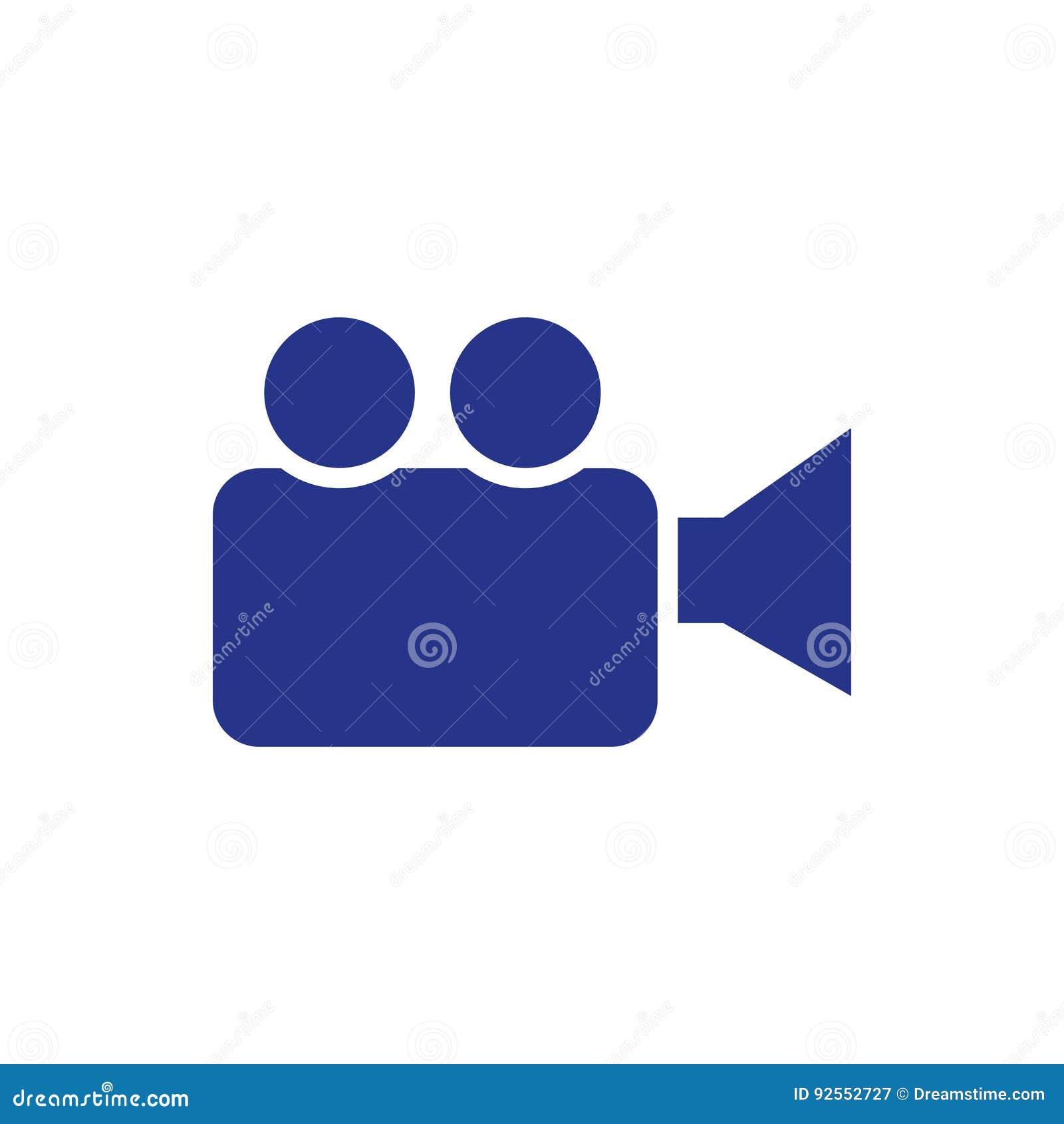 Stile piano di progettazione della video dell icona della macchina fotografica delle azione illustrazione di vettore
