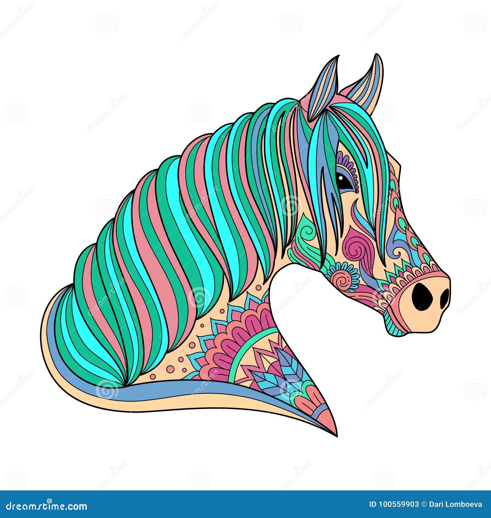 Stile stilizzato dello zentangle del cavallo del disegno for Disegno cavallo stilizzato
