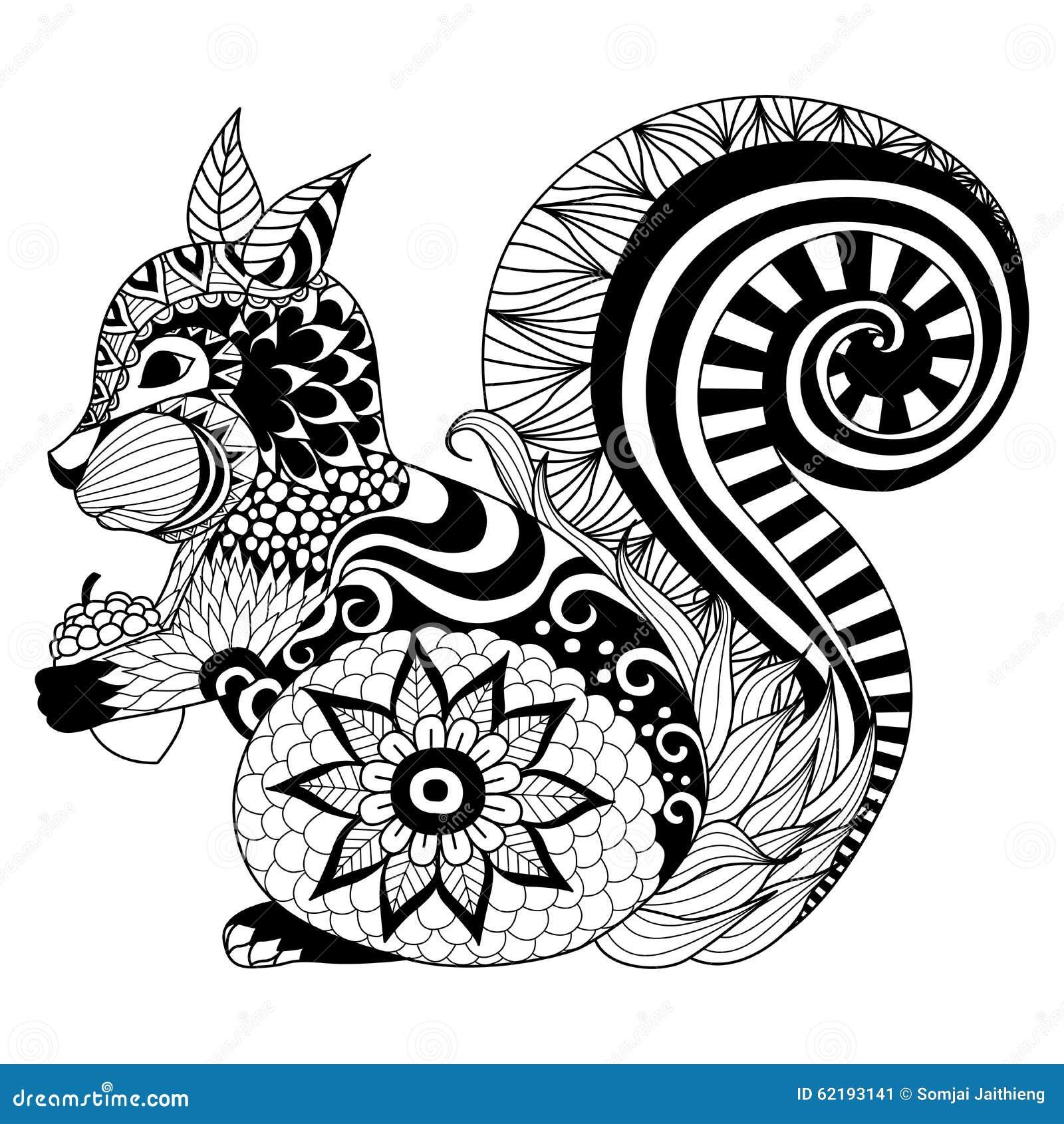 Stileert De Hand Getrokken Eekhoorn Zentangle Voor Het
