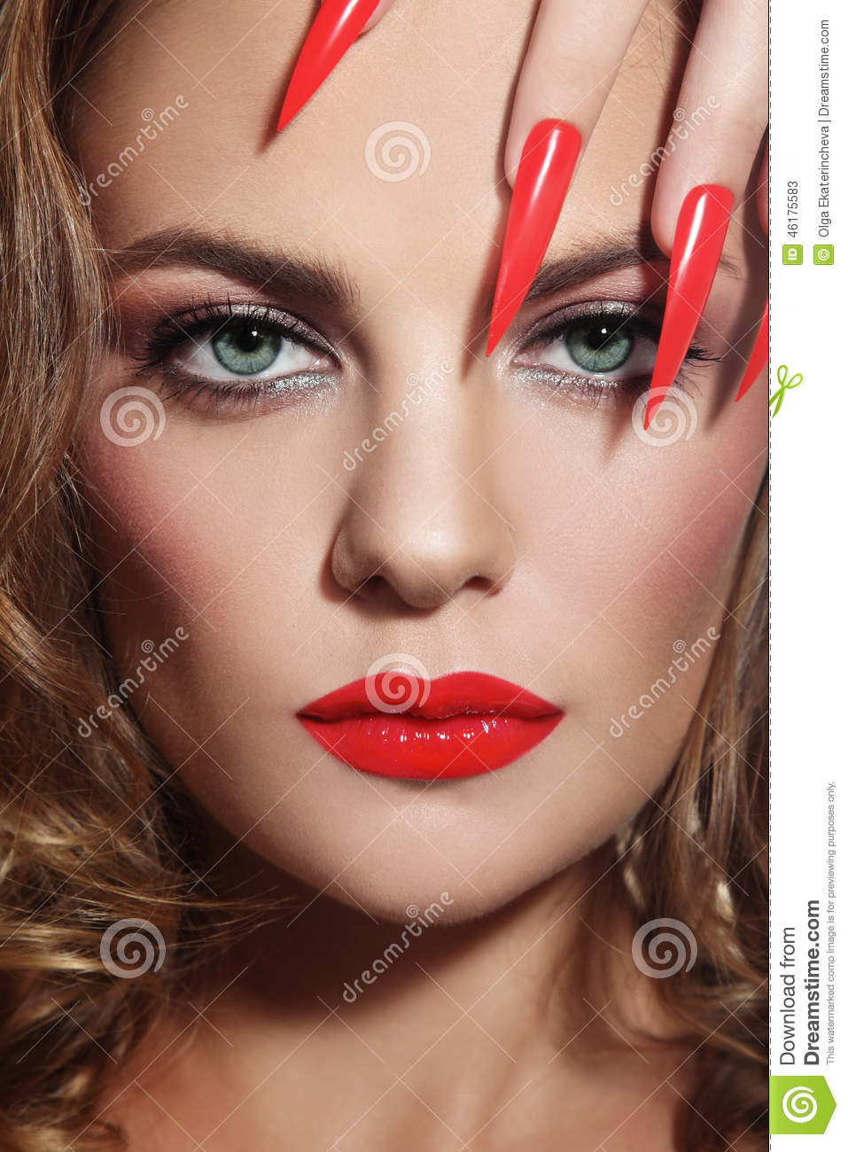 Stiletto Nails Close Up Portrait Young Beautiful Woman Red Lipstick Long