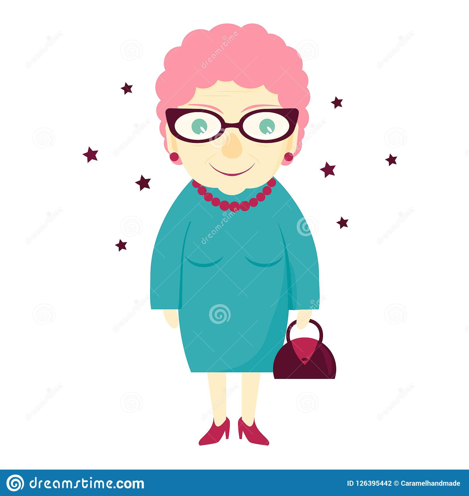 Stilfull älskvärd gullig farmor med en handväska kvinna för åldringögonfokus Den gamla damen