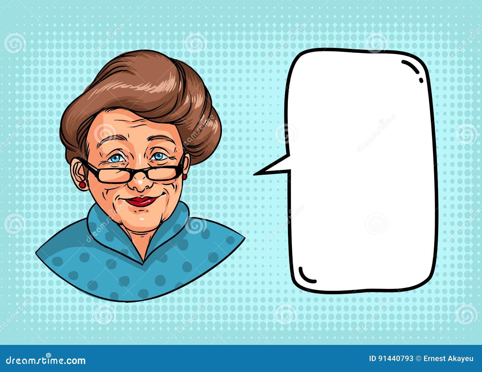 Stilfull farmor med den retro frisyren, exponeringsglas, röd läppstift Ståenden av den äldre kvinnan och anförande bubblar för te