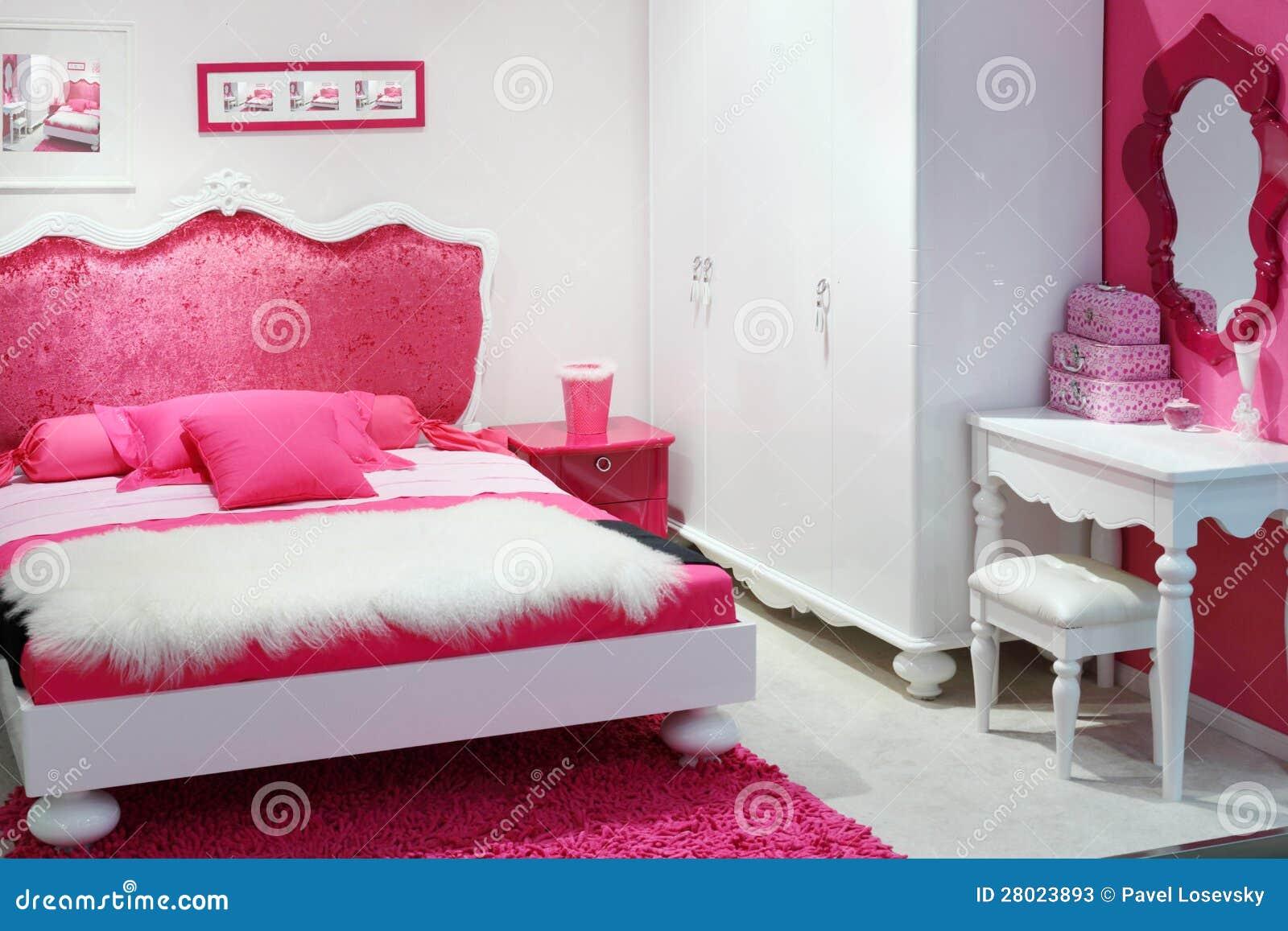 Stilfullt rosa sovrum fotografering för bildbyråer Bild av design 28023893