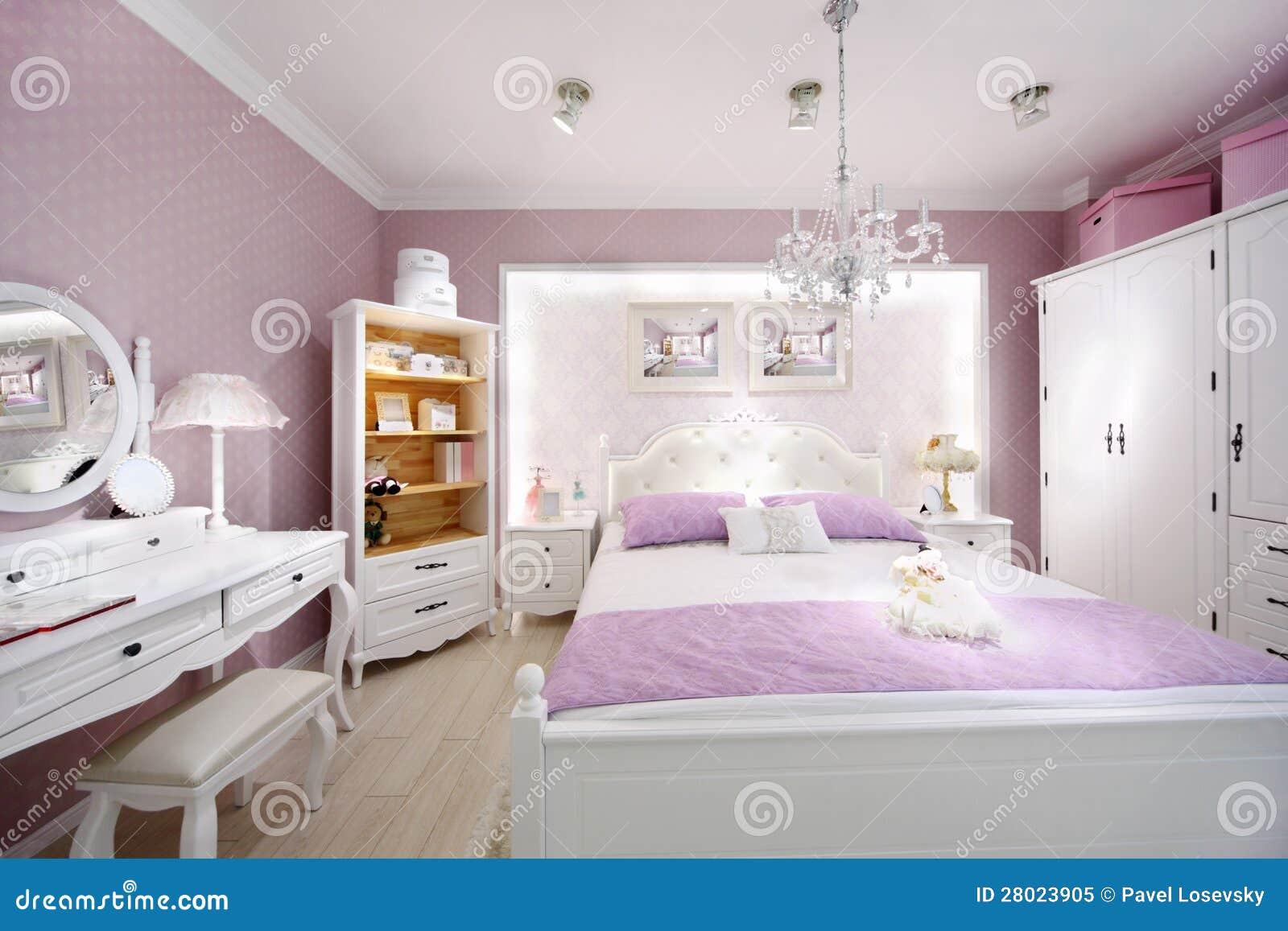 Stilfull rosa färg vit härligt sovrum arkivbild   bild: 28023922