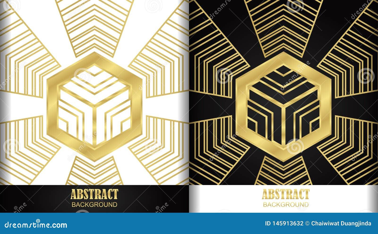 Stili dorati del modello 2 di esagono nel fondo bianco e nero