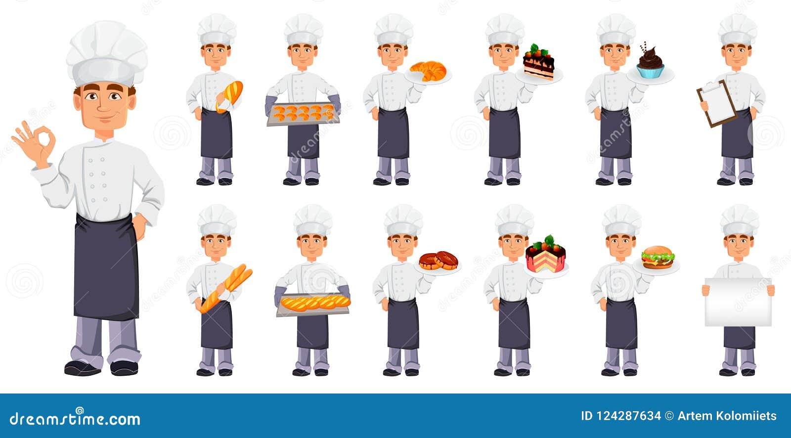 Stilig bagare i yrkesmässig likformig