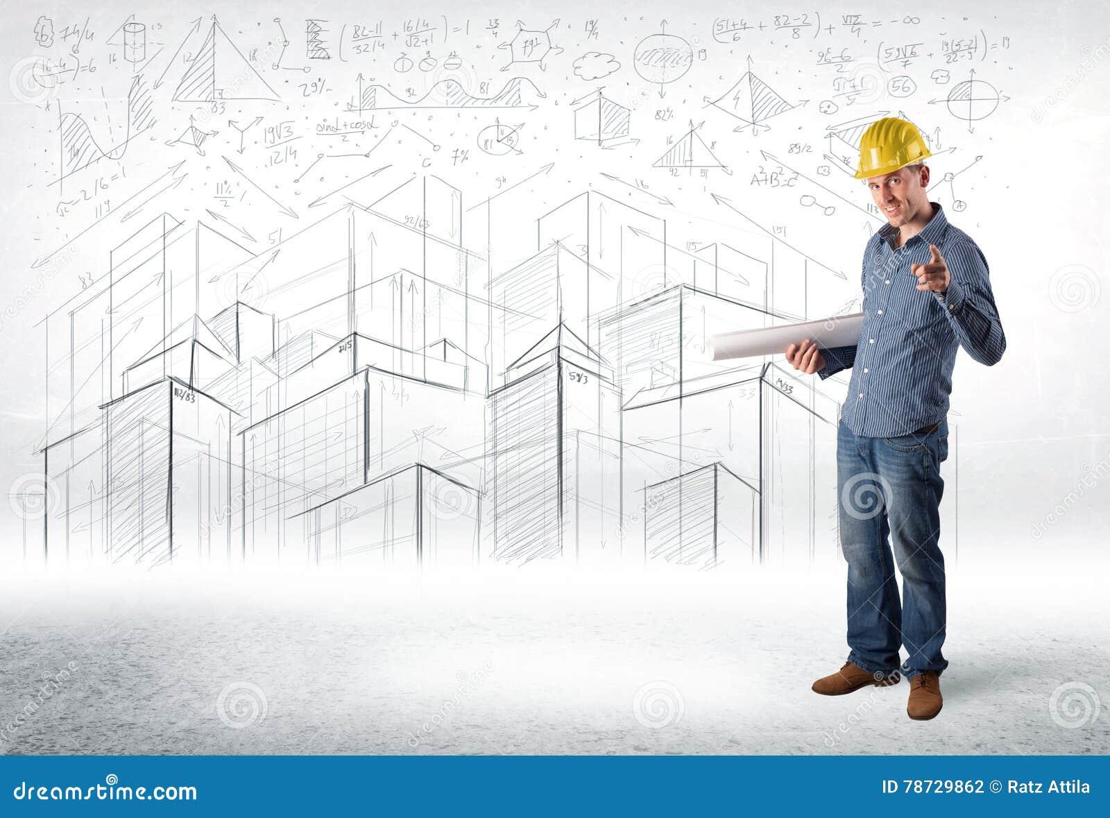 Stilig konstruktionsspecialist med stadsteckningen i bakgrund