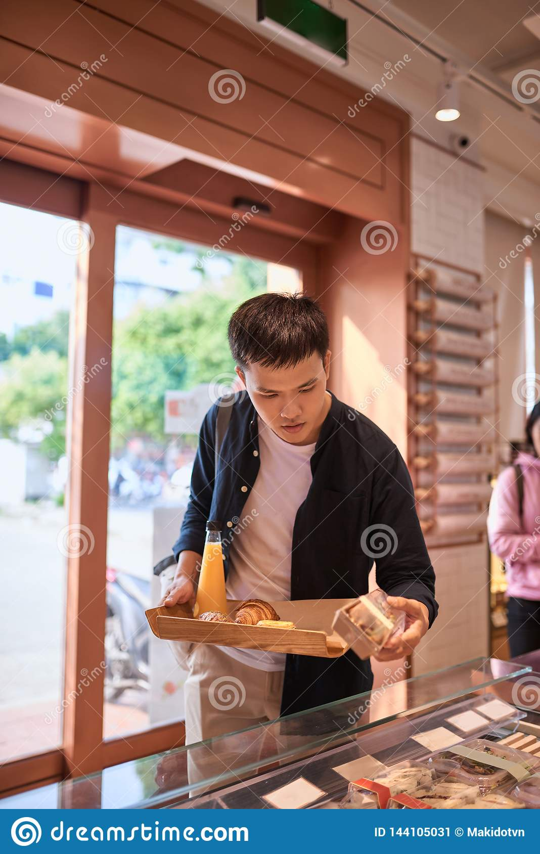 Stiligt asiatiskt mank?pandebageri f?r kaffeavbrott i eftermiddagen Bageri- och kaffeavbrott