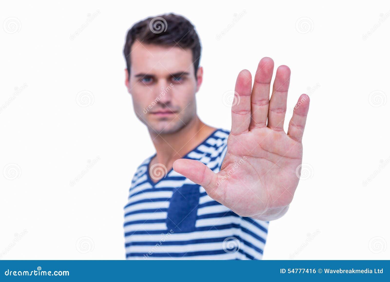 Stiligt tecken för hipstervisningstopp med handen