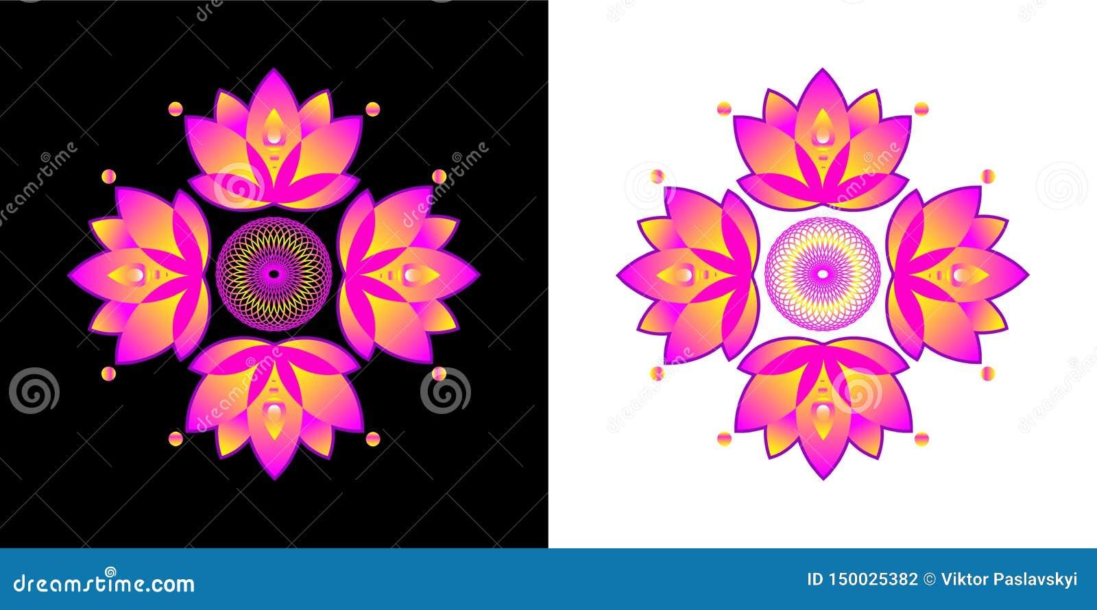 Stiliserad lotusblommablomma Komma med bra lycka