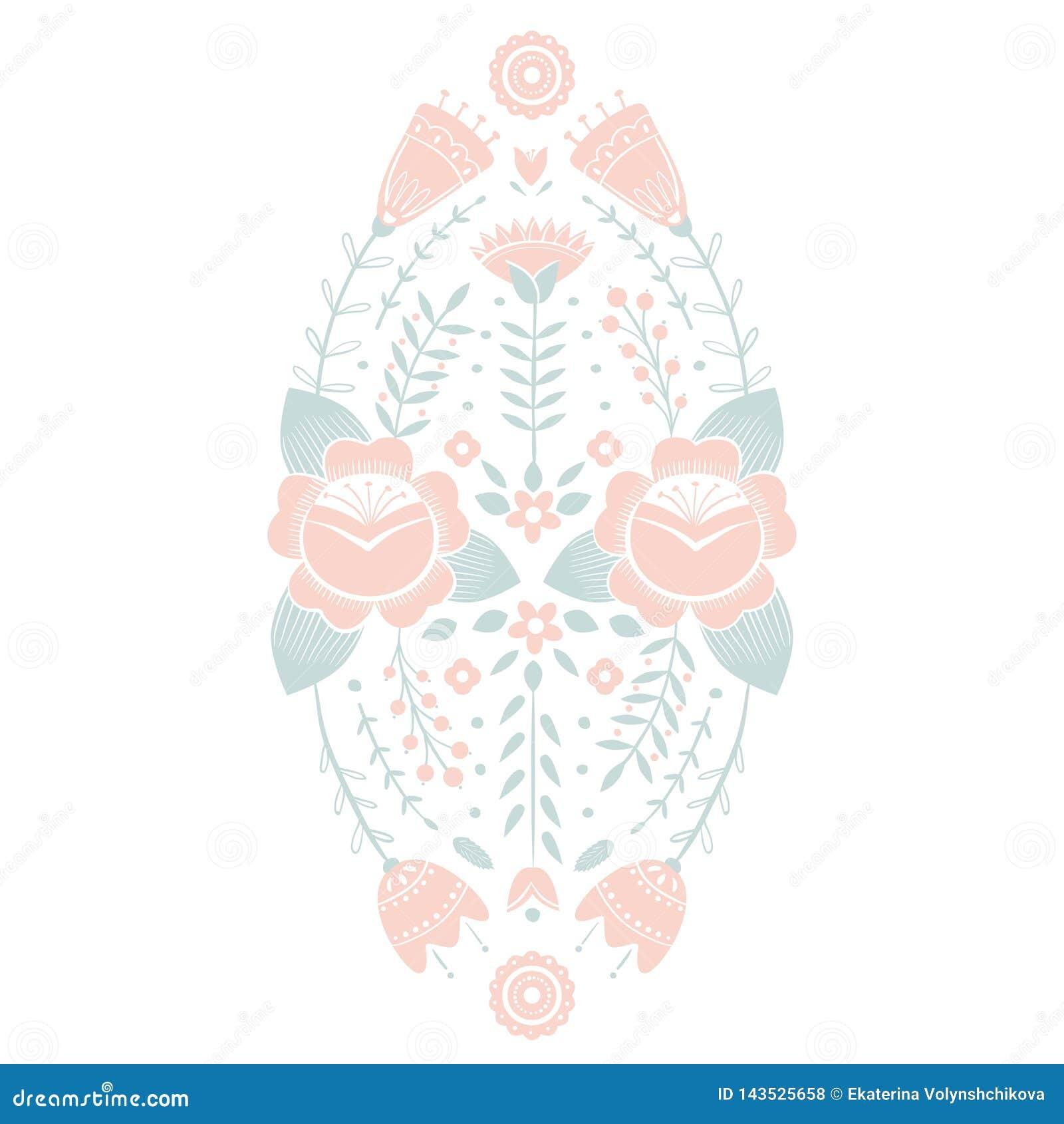 Stiliserad modell, folkkonst, blom- prydnad i r?da och gr?na f?rger Symmetrisk modellvektorbakgrund Rosa f?rger och