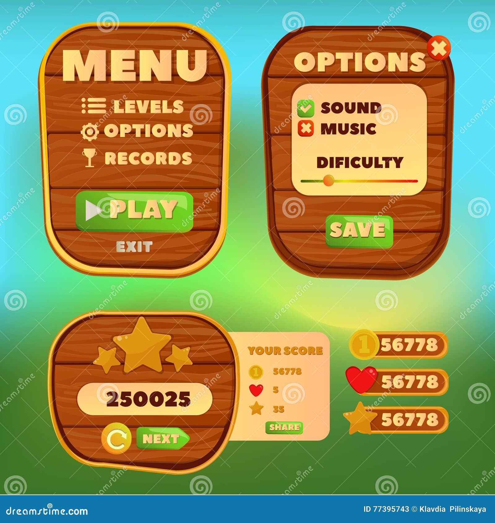 Stiliserade den Wood kontrollbordet för tecknade filmen för beståndsdelar för Ui lekmeny av en rolig tecknad film för lek för tec