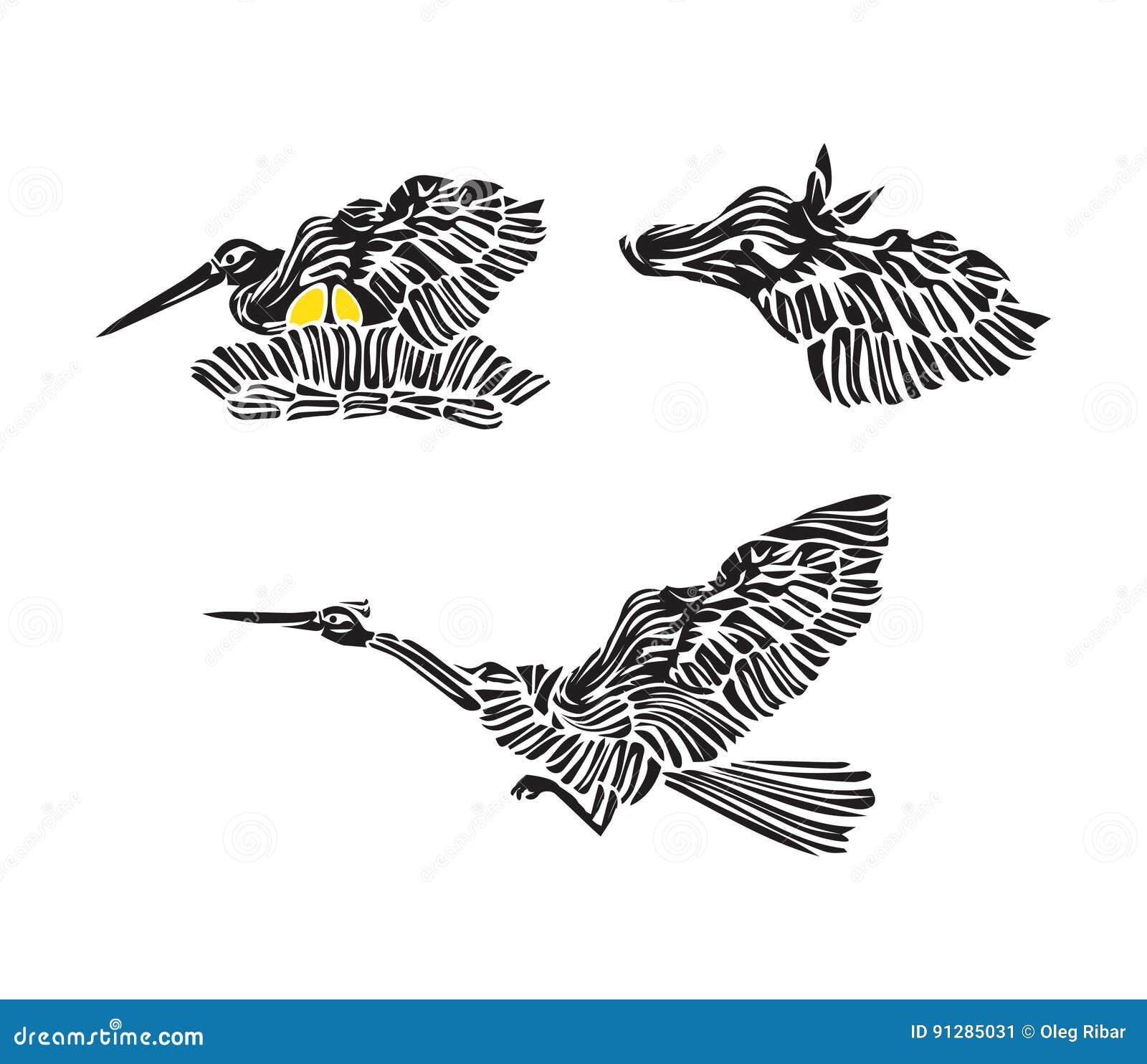 Stiliserat bygga bo storkkonturn med ägg, flygfågeln och hästen - uppsättning för tecknad filmvektorsymbol