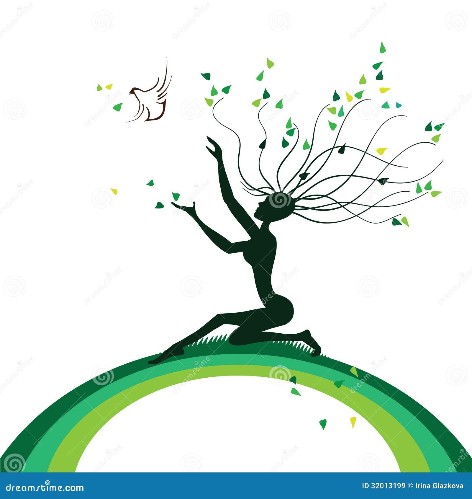Stiliserat träd i form av en flicka