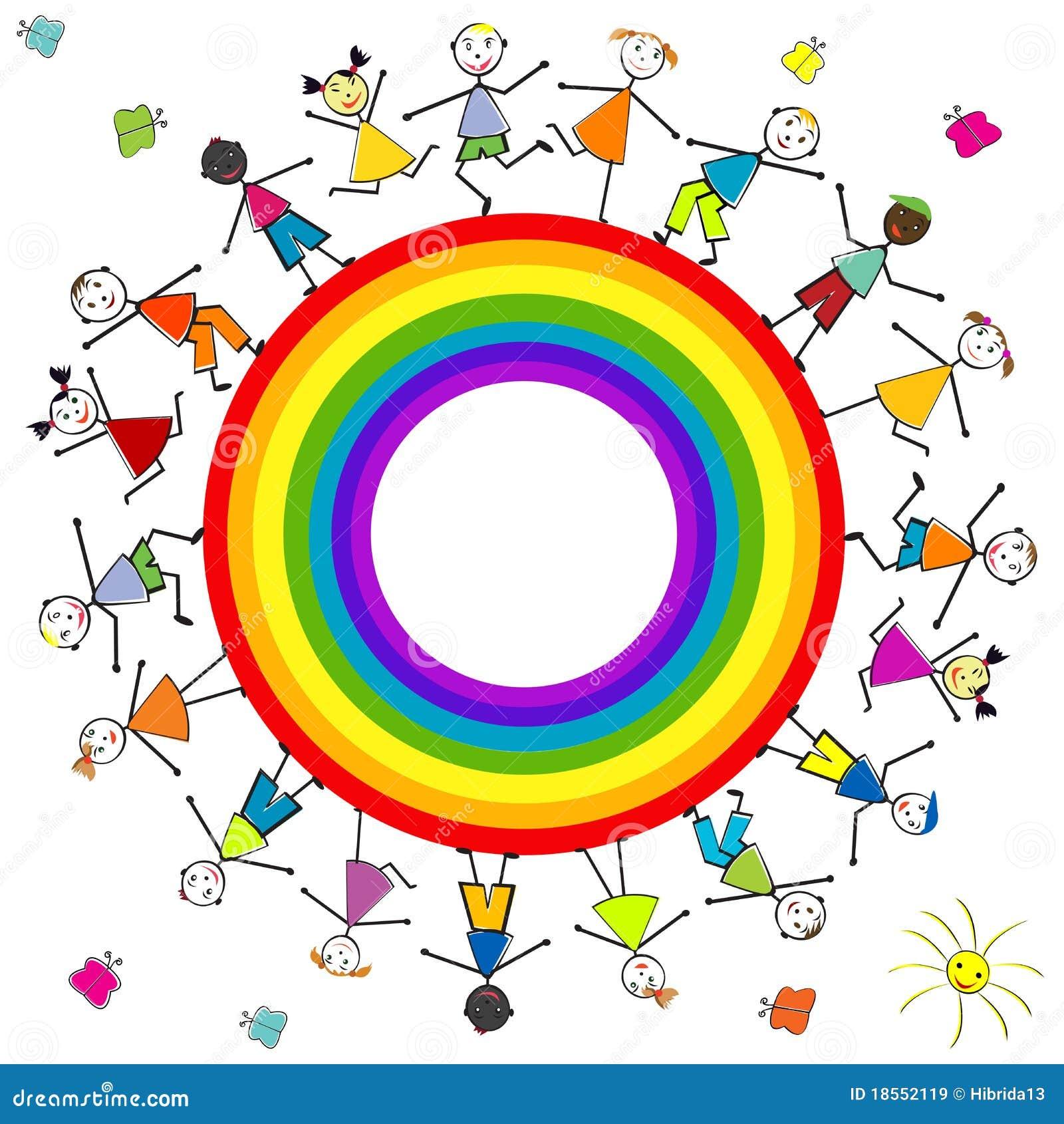 Stilisiert kinder um einen regenbogen vektor abbildung for Regenbogen dekoration