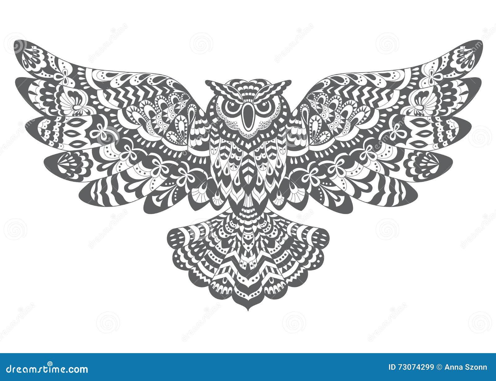 stilisierte dekorative vektoreule zeichnen für malbuch