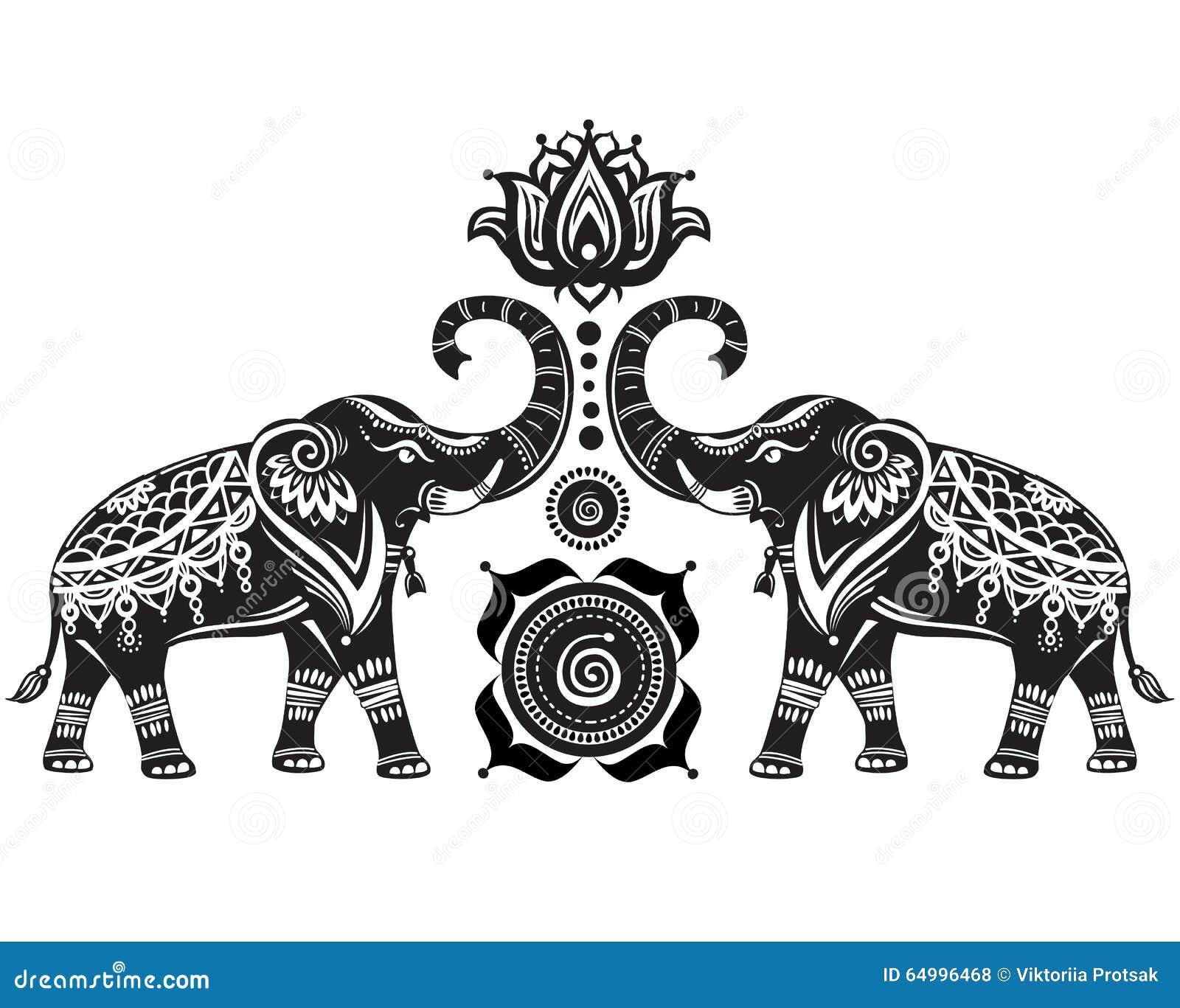 Stilisierte Elefanten und Lotosblume