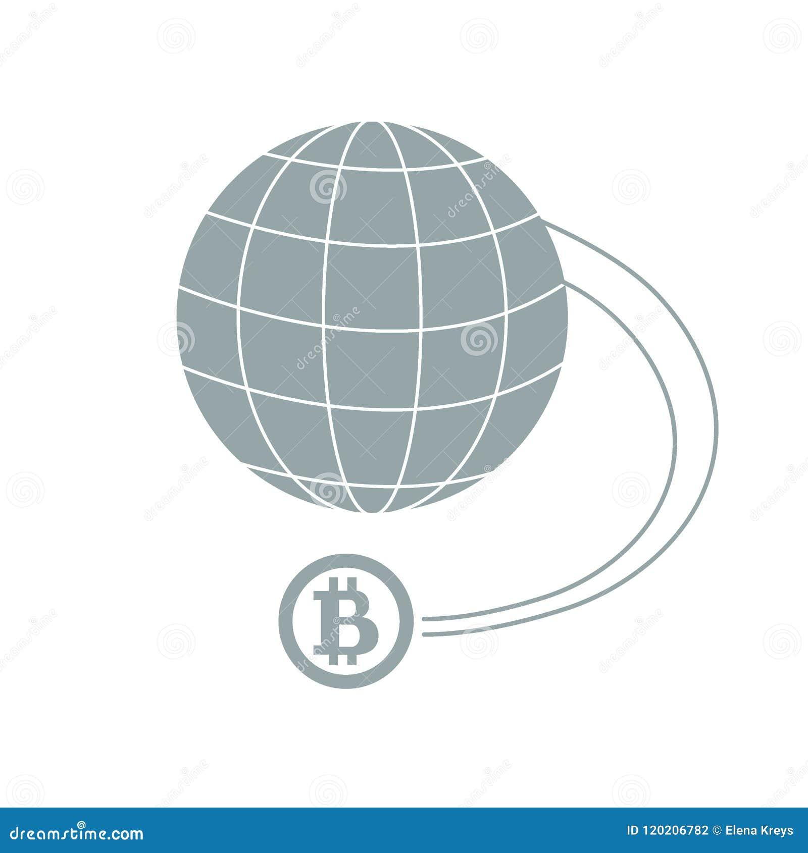 Stilisierte Ikone eines farbigen bitcoin als Mittel Zahlungsgeschwindigkeit w