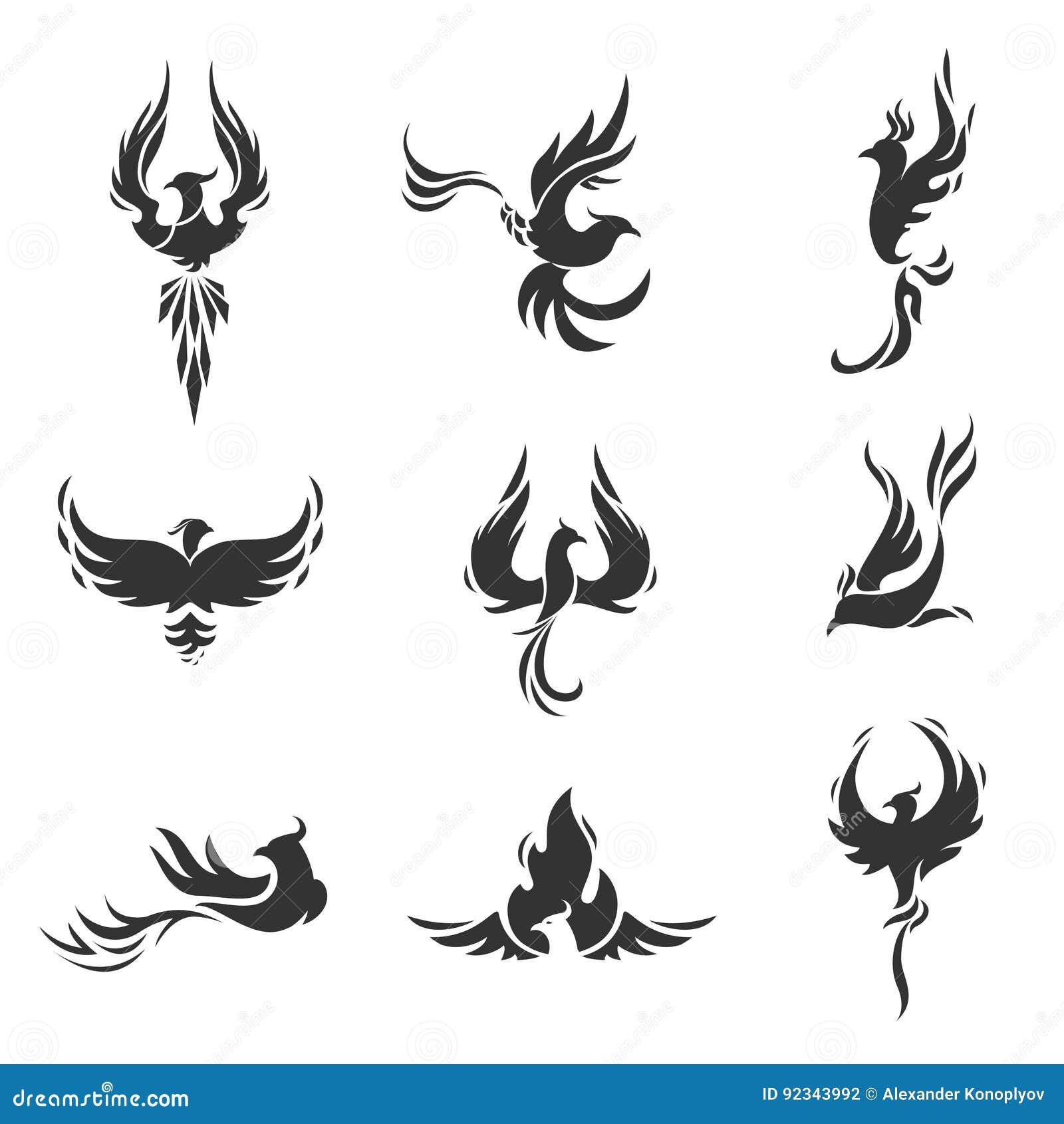 Stilisierte Ikonen Phoenix Vogels Auf Weißem Hintergrund Vektor