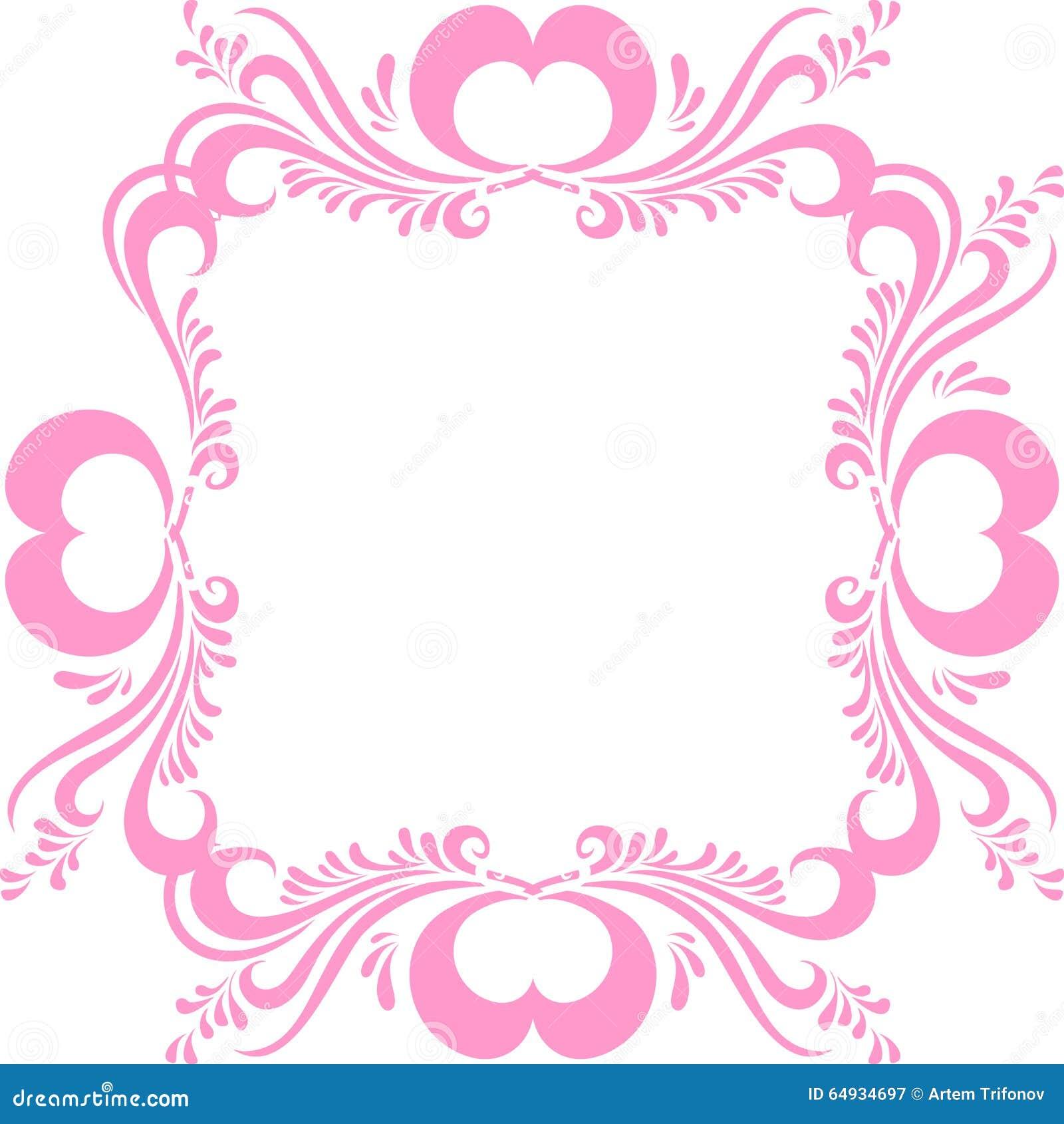 Stilisierter Rosa Bilderrahmen, Mit Aufwändigem Muster Und Herzen ...