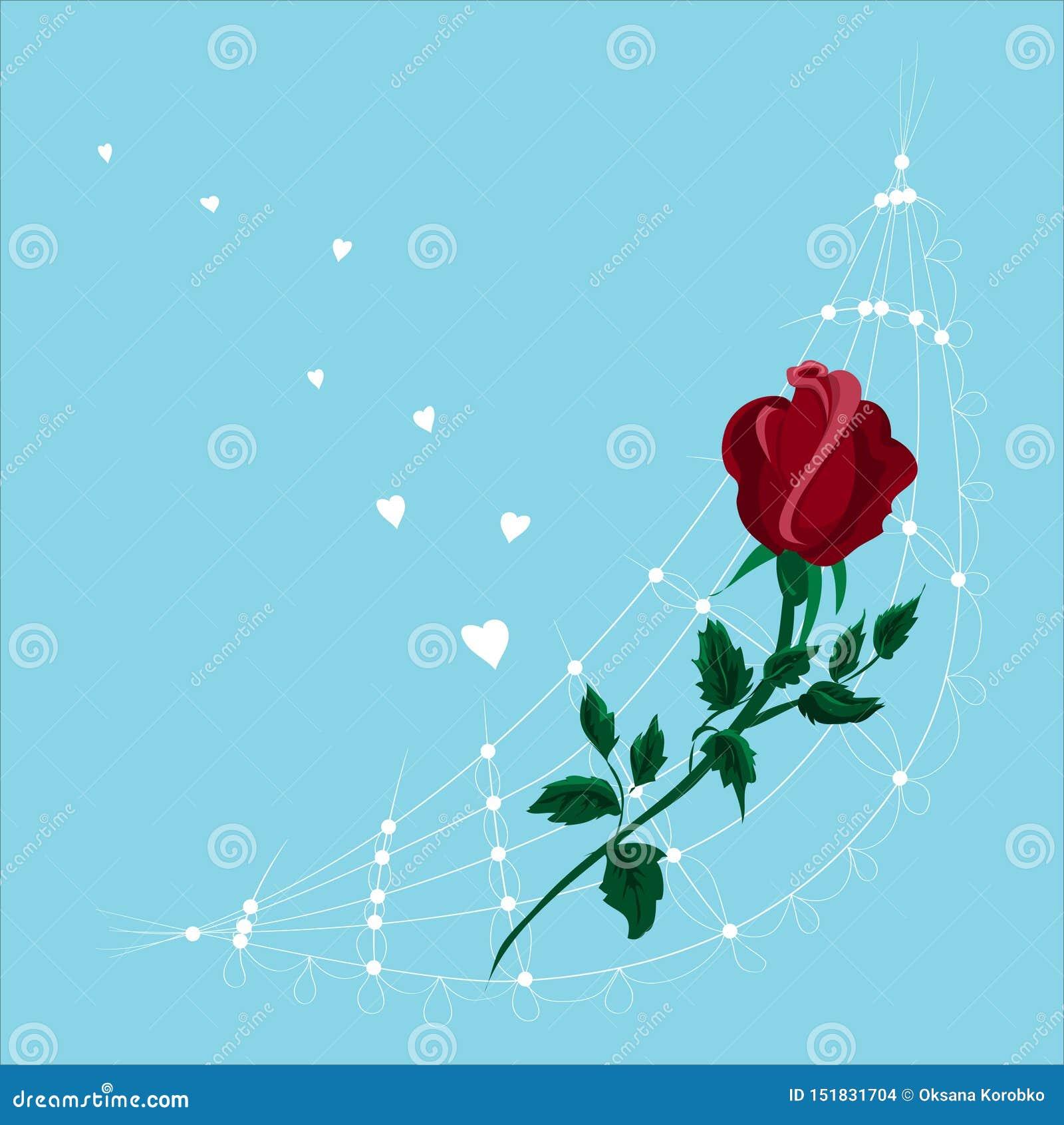 Stilisierter roter Blumenrogen Getrennt auf blauem Hintergrund